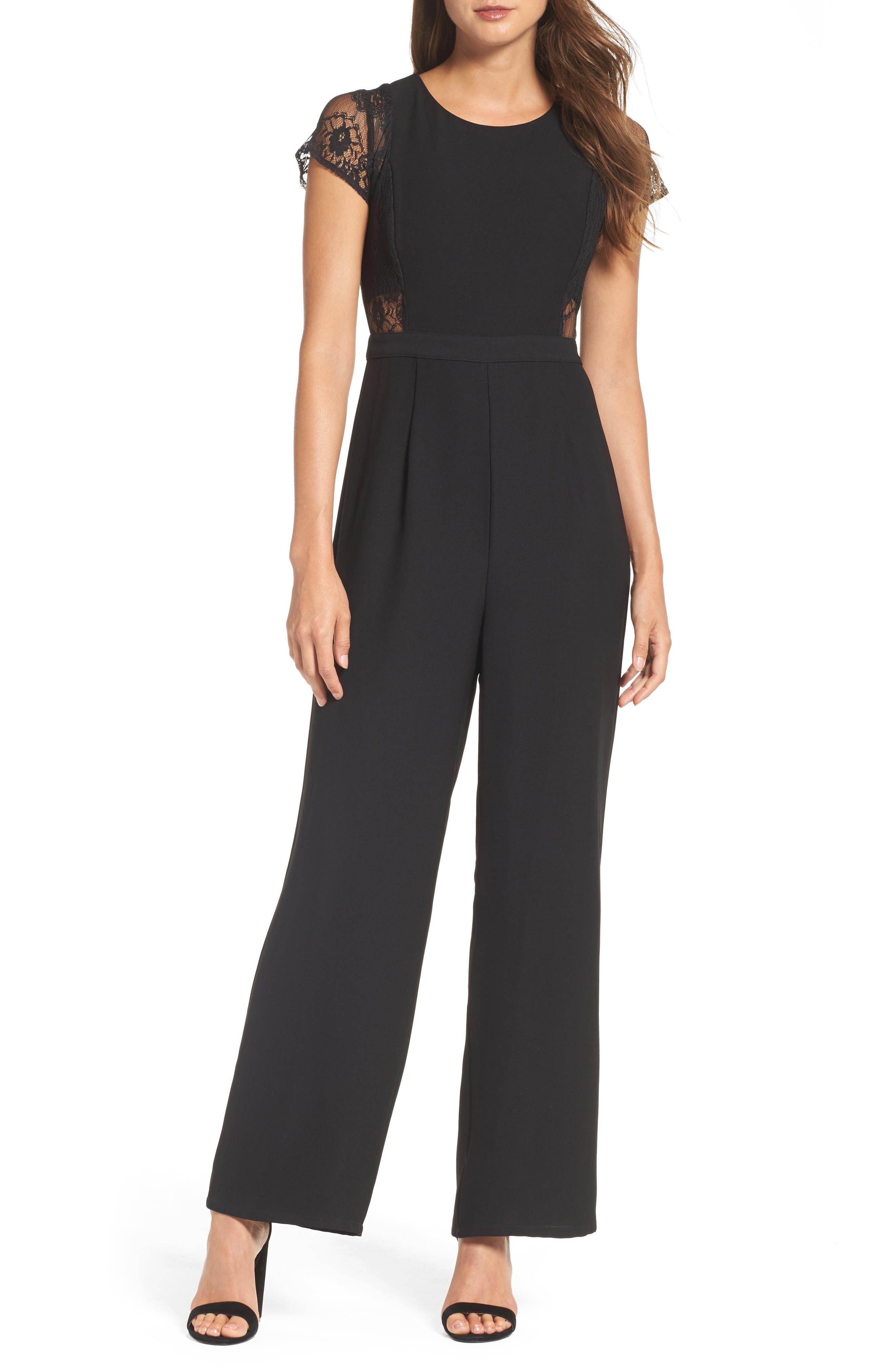 Lace Jumpsuit,                         Main,                         color, Black