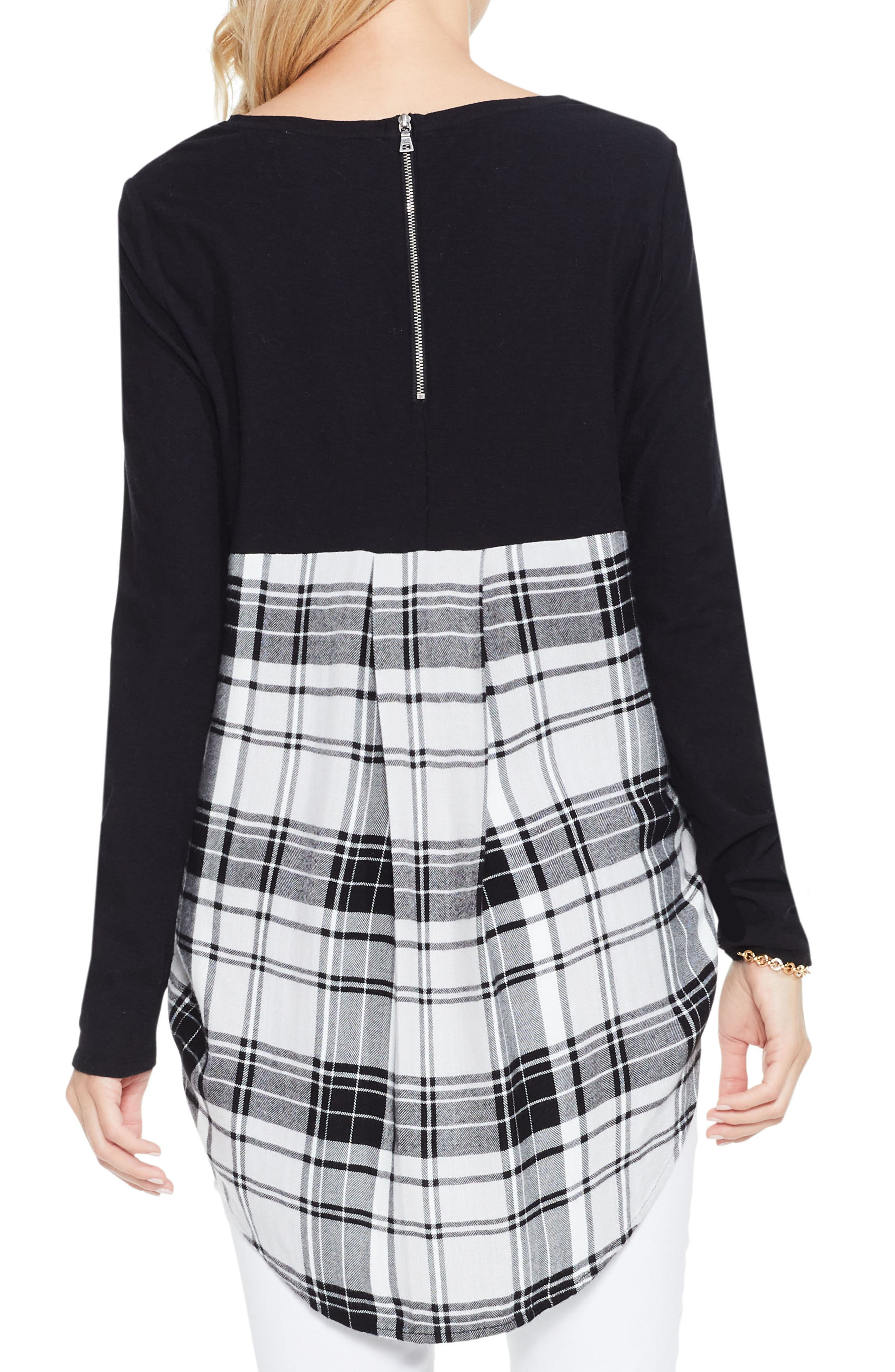 Alternate Image 3  - Two by Vince Camuto Solid & Plaid Top
