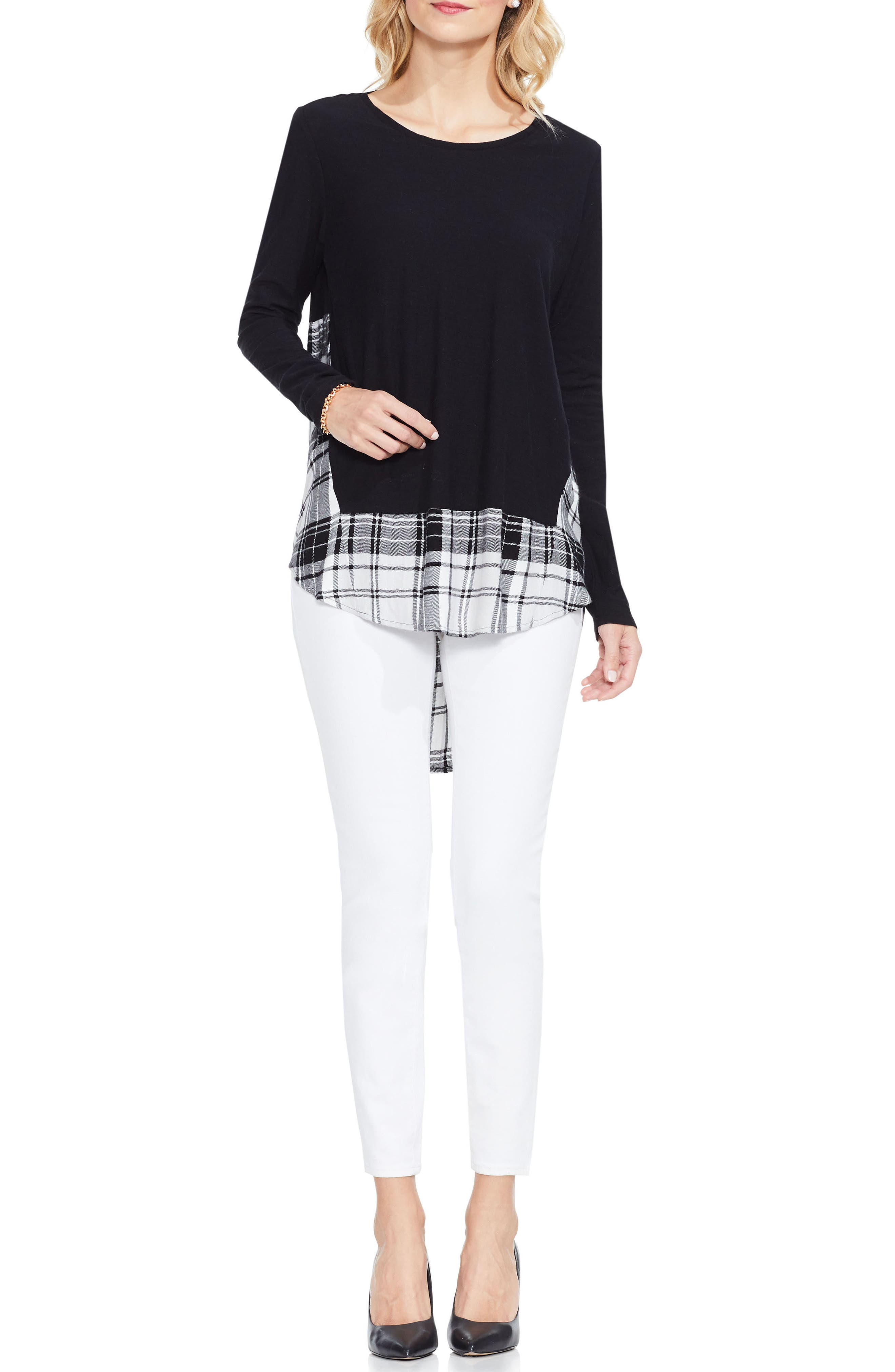Alternate Image 2  - Two by Vince Camuto Solid & Plaid Top