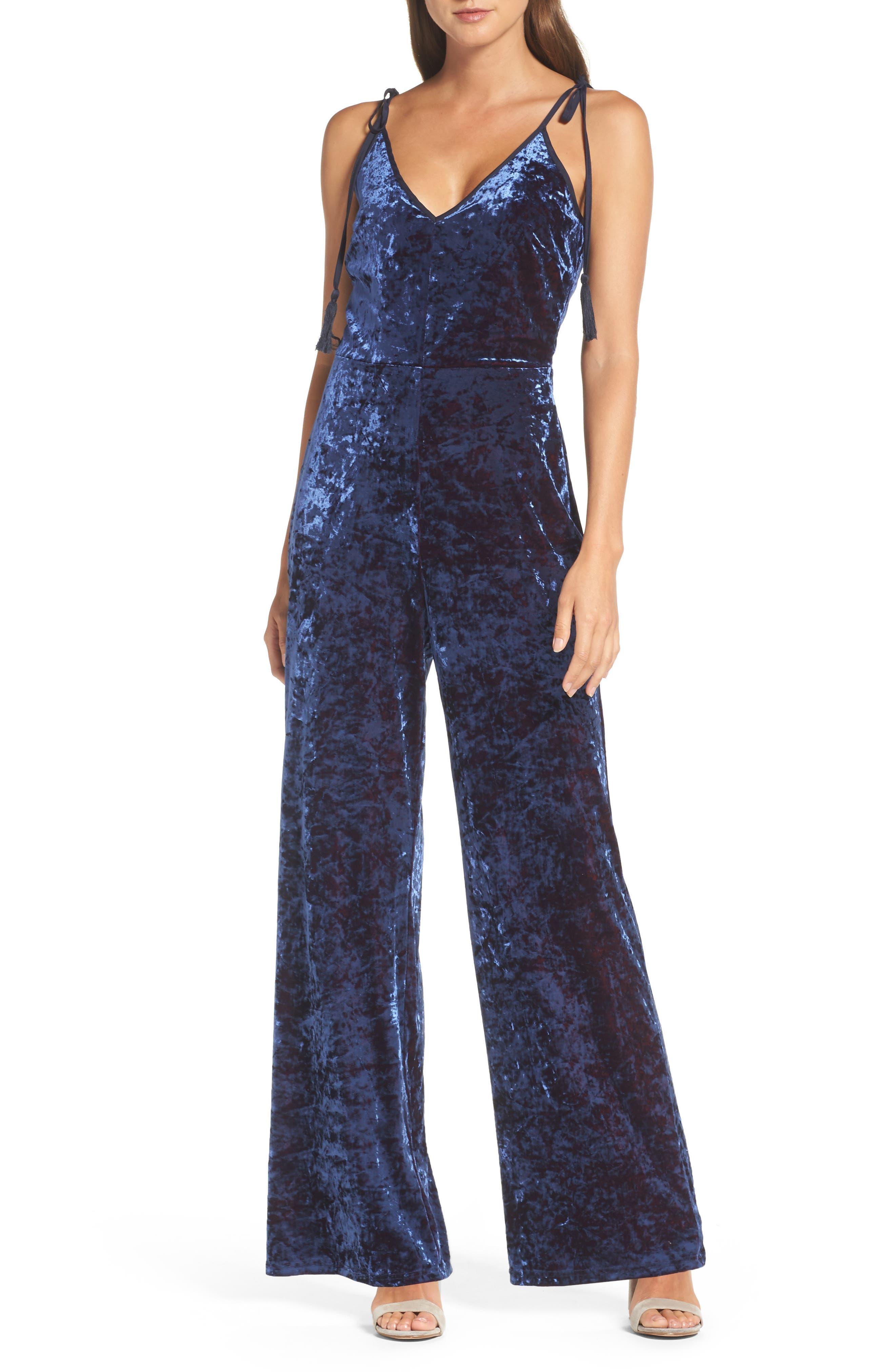 Regina Crushed Velvet Jumpsuit,                         Main,                         color, Navy