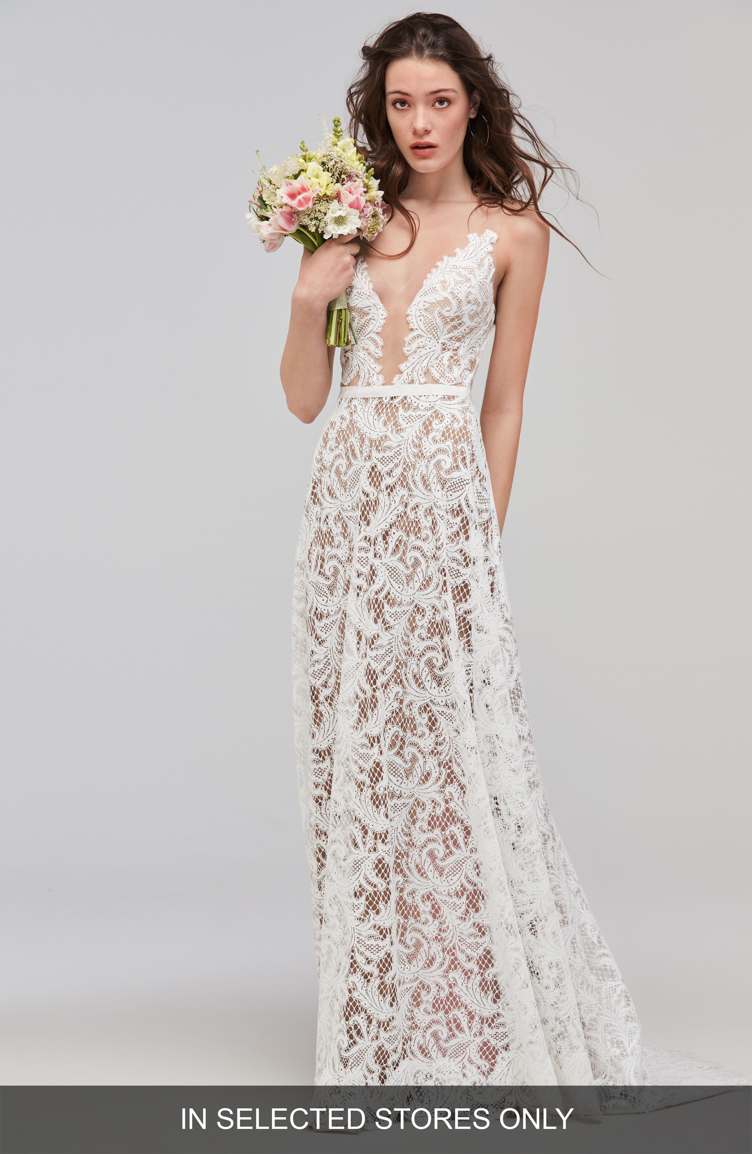 Asa Sleeveless Lace & Tulle A-Line Gown,                         Main,                         color, Ivory/Sunkiss