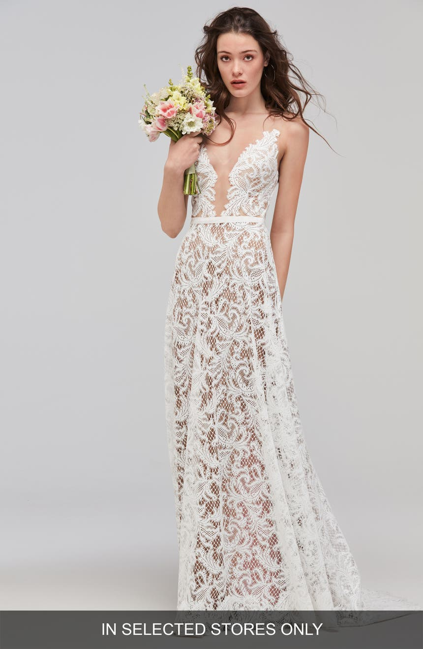Willowby Asa Sleeveless Lace Tulle A Line Gown