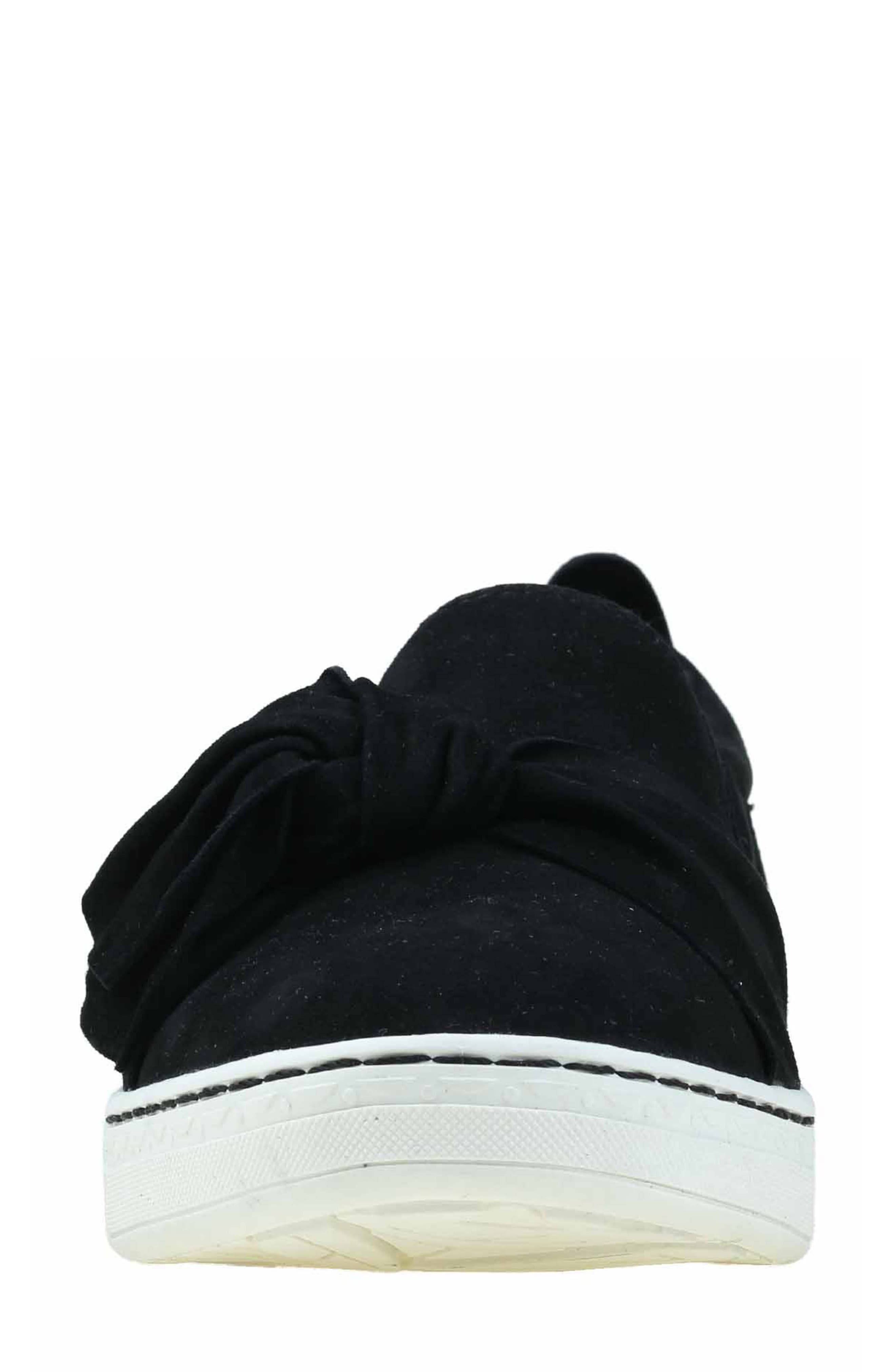 Zoey Slip-On,                             Alternate thumbnail 4, color,                             Black Suede Fabric