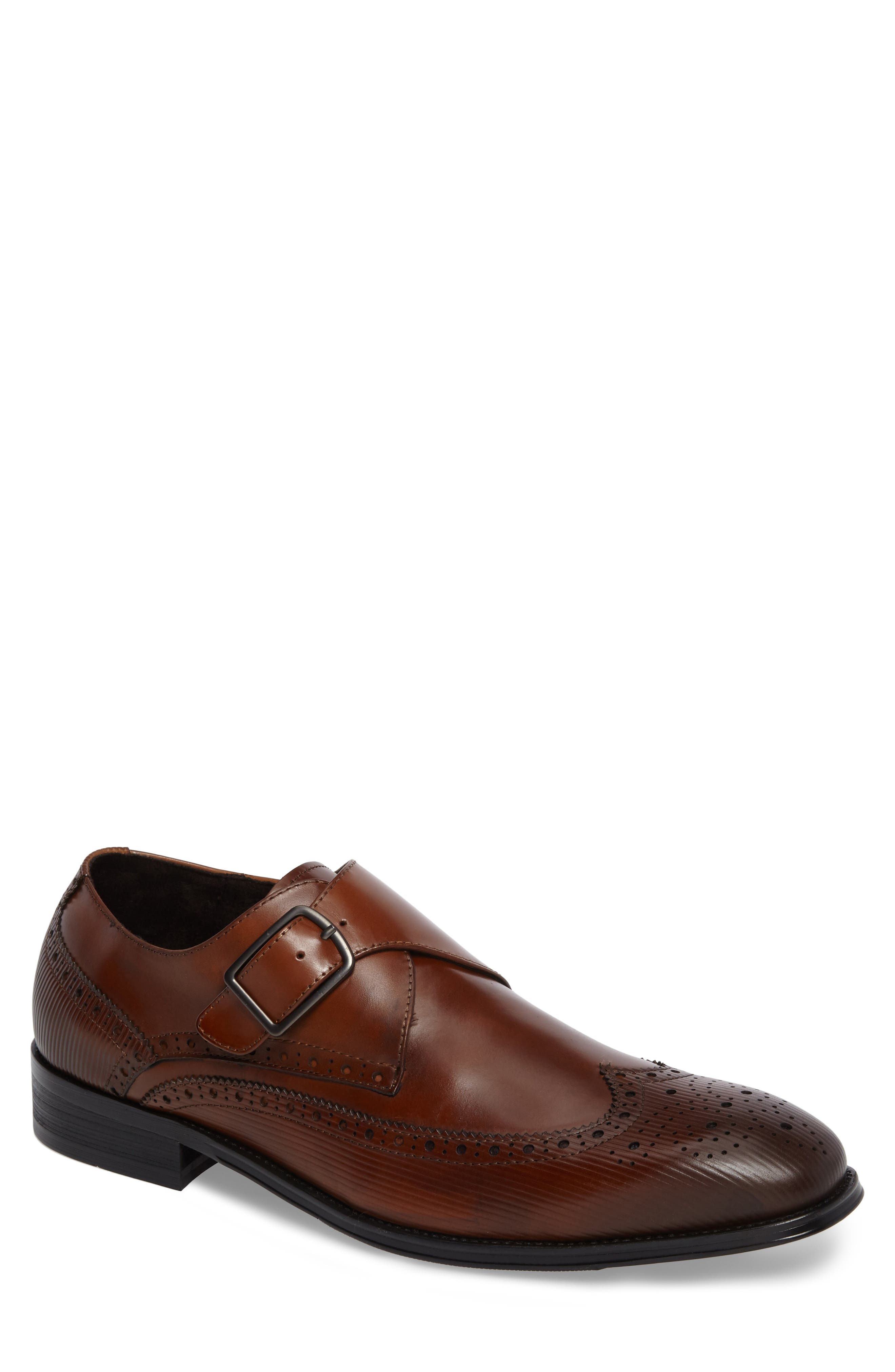 Design Monk Strap Shoe,                         Main,                         color, Cognac Leather