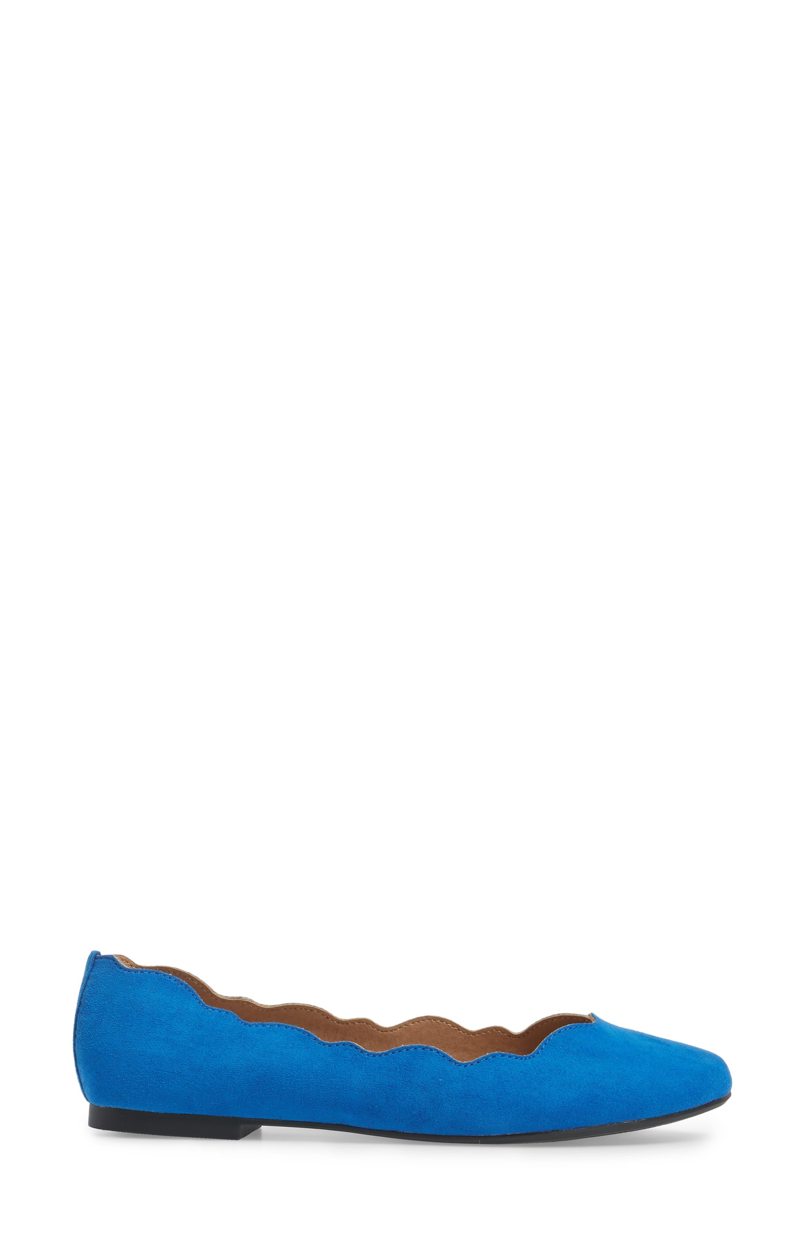 Tallye Ballet Flat,                             Alternate thumbnail 3, color,                             Royal Blue Faux Suede