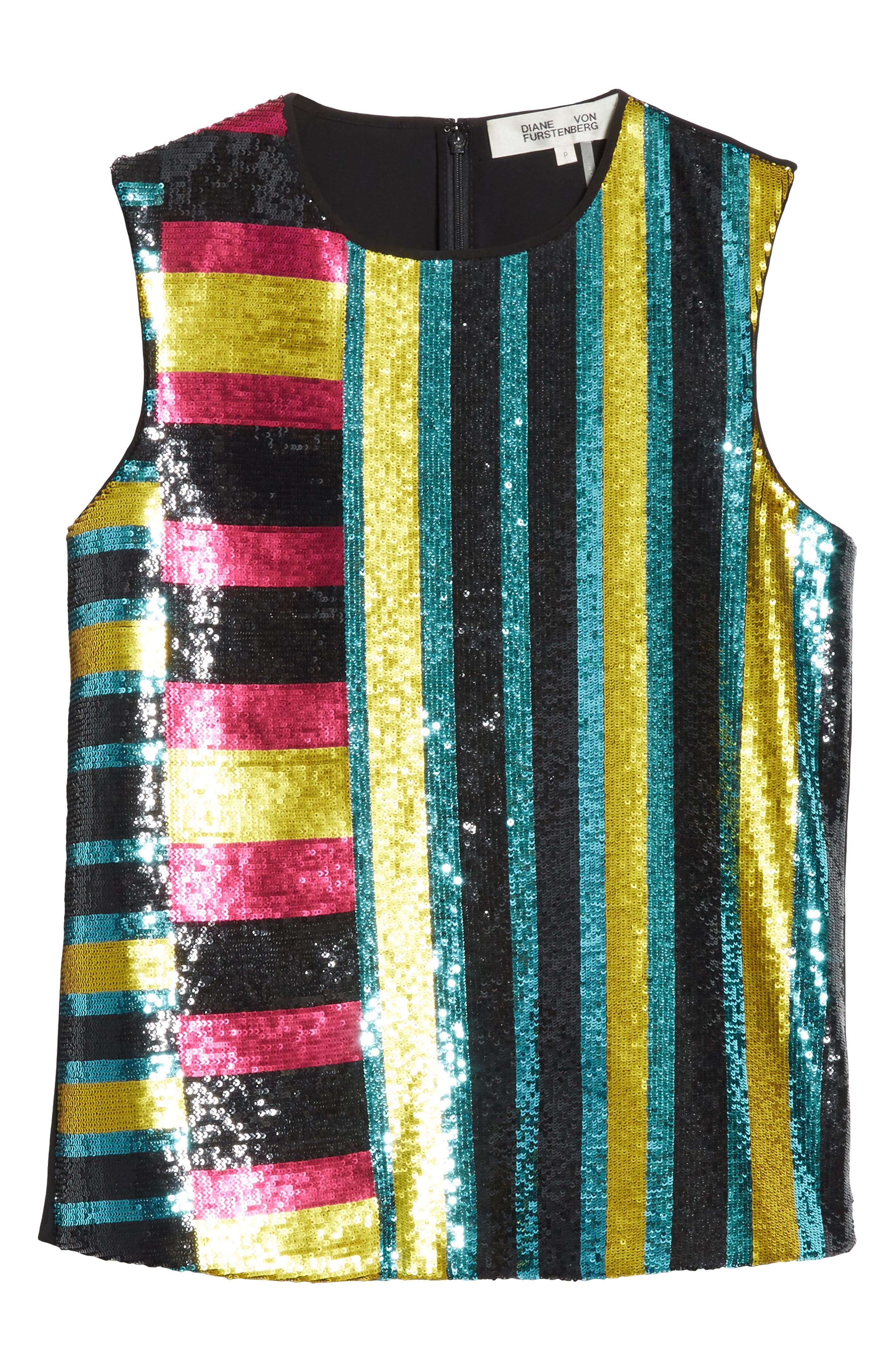 Shimmer Sequin Front Shell,                             Alternate thumbnail 6, color,                             Saxon Stripe Lemon/ Black
