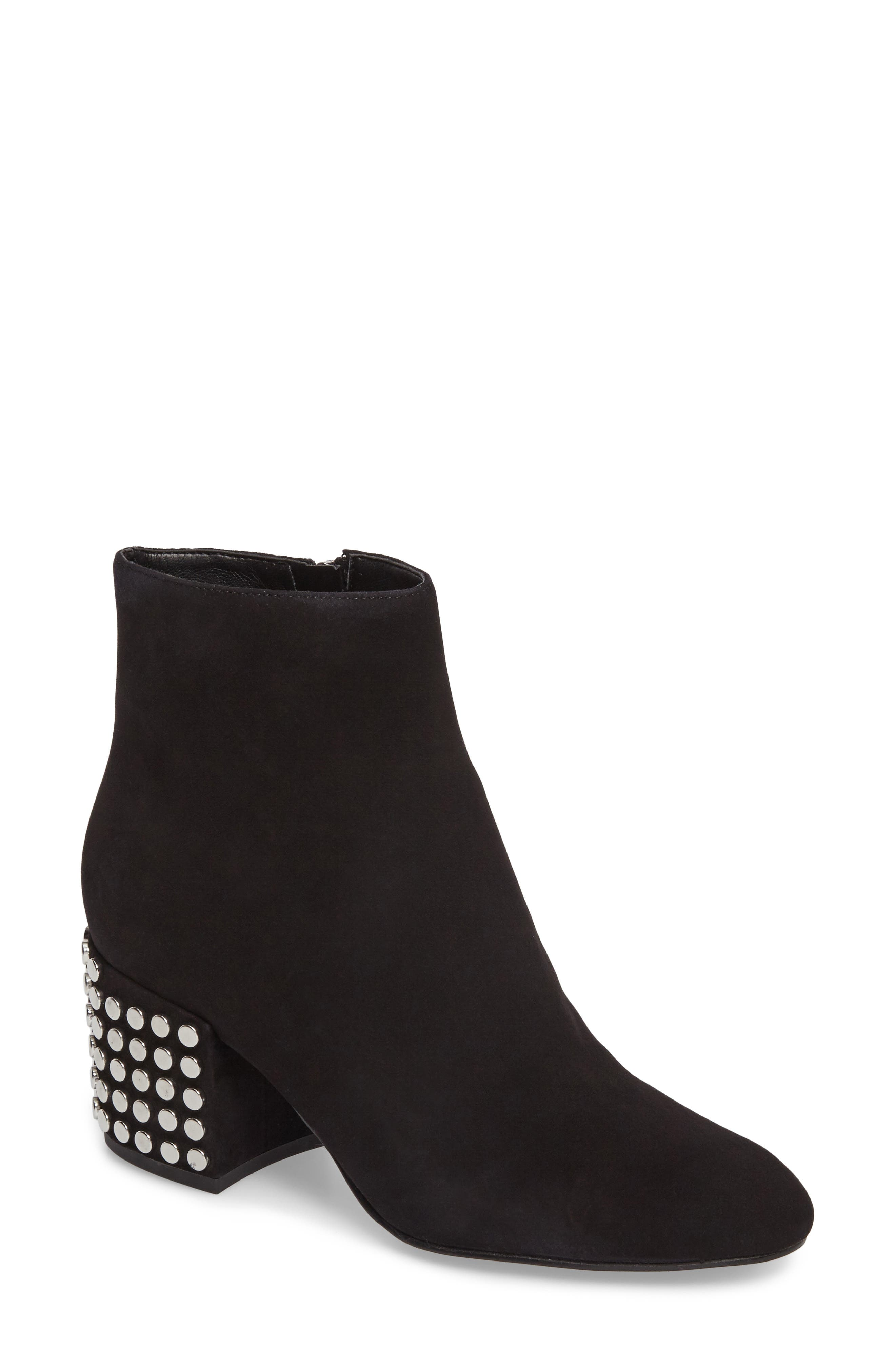 Blythe Studded Heel Bootie,                             Main thumbnail 1, color,                             Black Suede