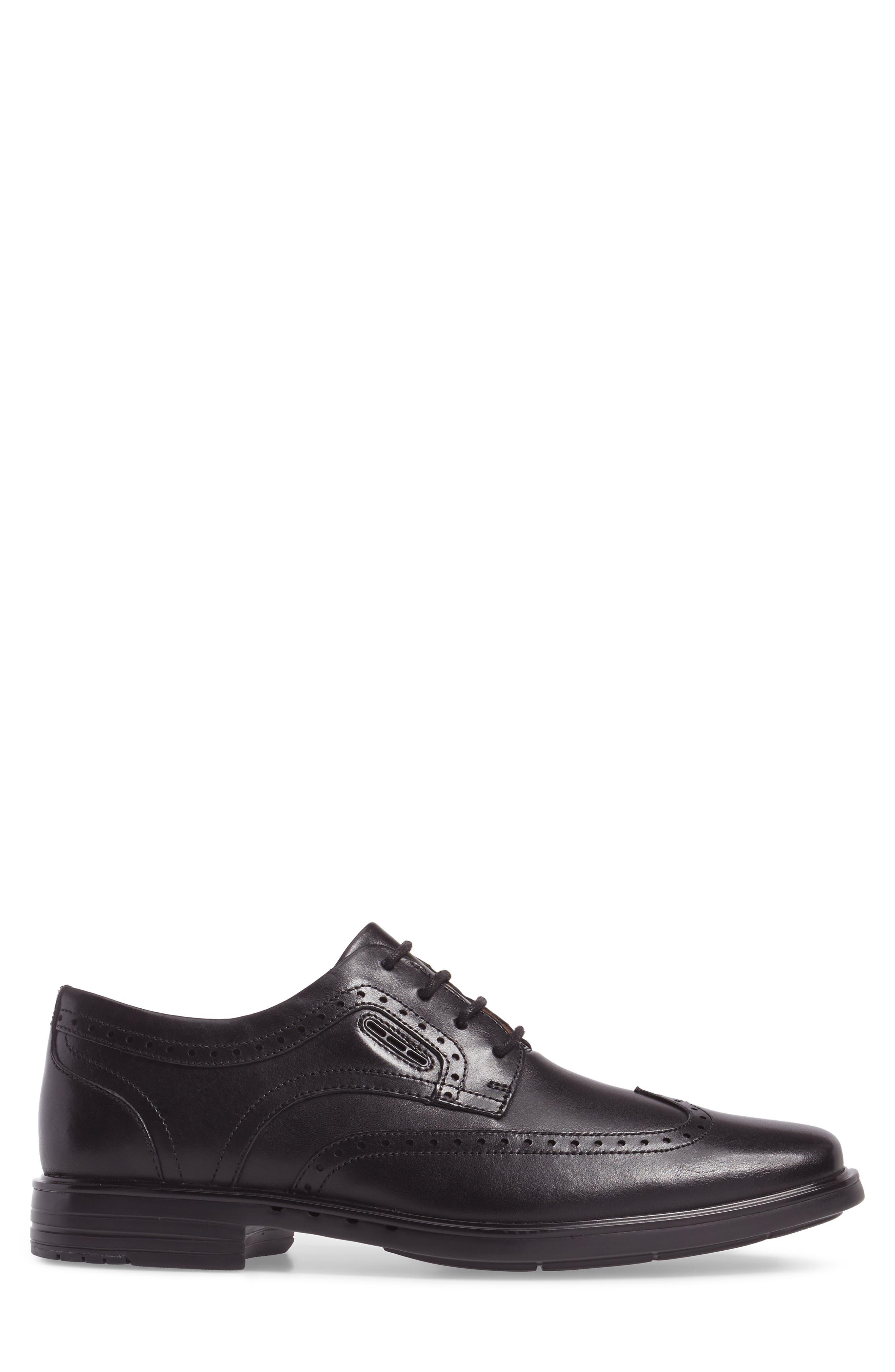 Unbrylan Wingtip Oxford,                             Alternate thumbnail 3, color,                             Black Leather