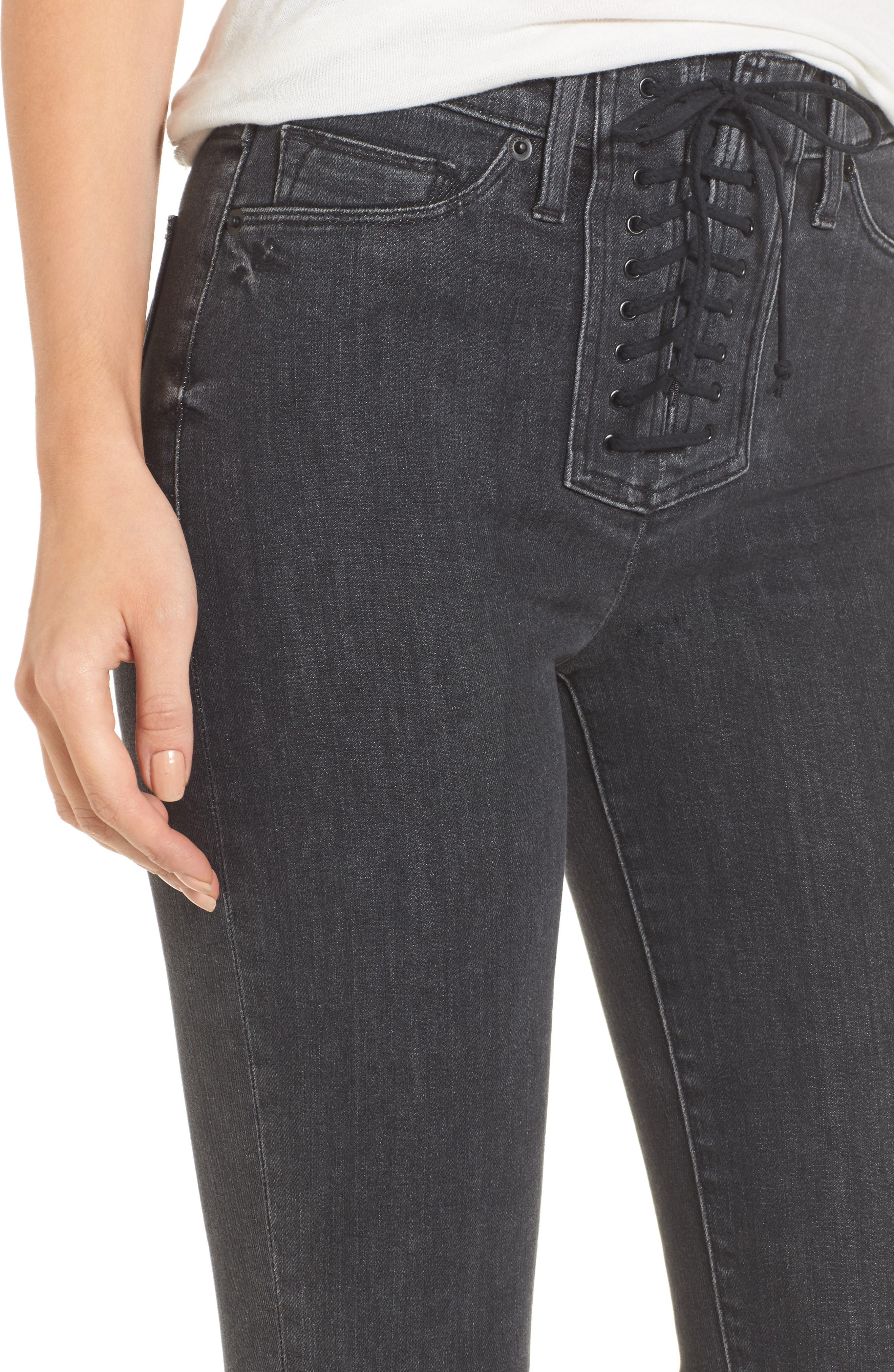 Alternate Image 4  - Hudson Jeans Bullocks High Waist Lace-Up Crop Jeans (Disarm)