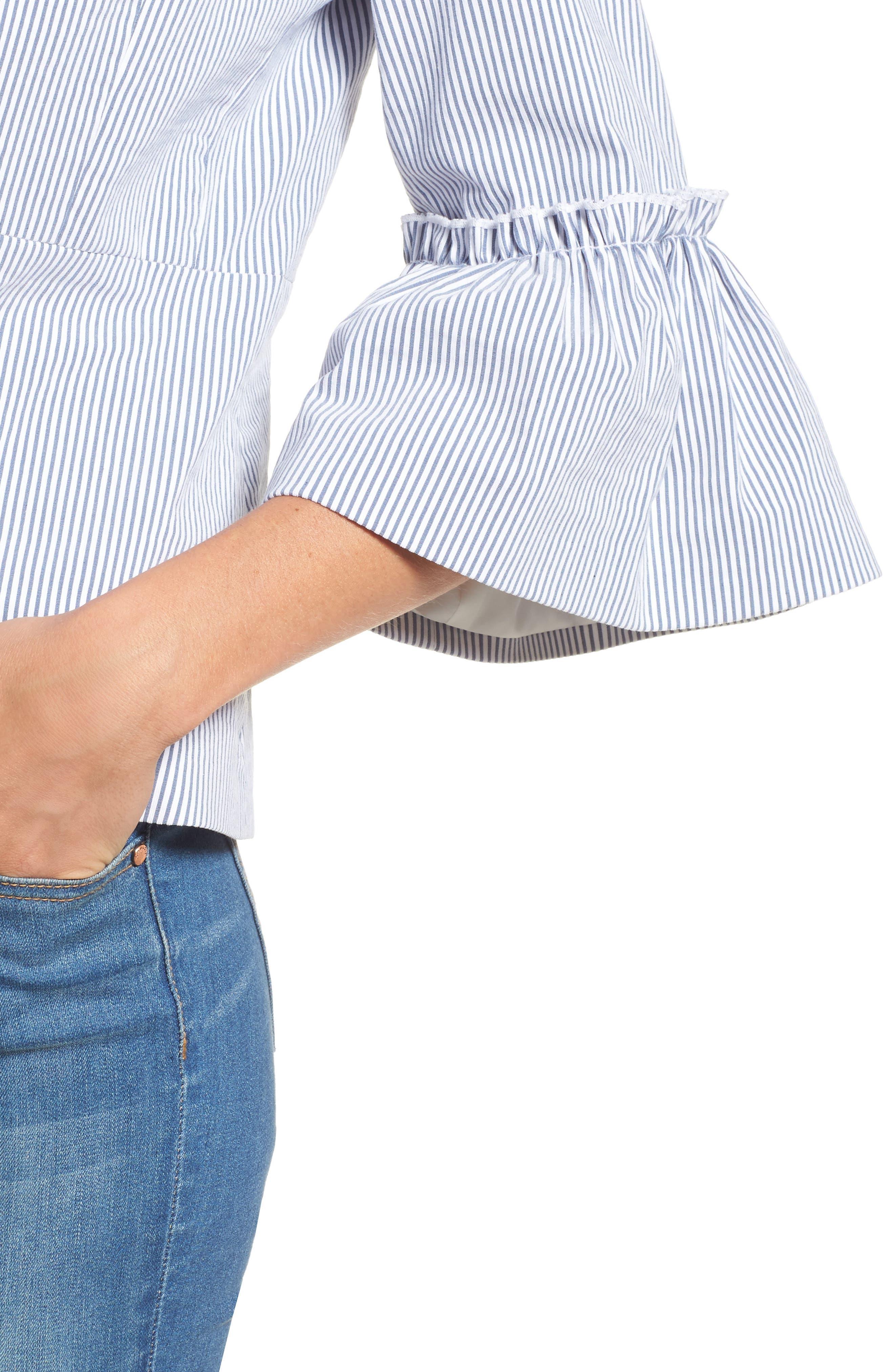 Ruffle Sleeve Open Jacket,                             Alternate thumbnail 4, color,                             Blue- White Seersucker