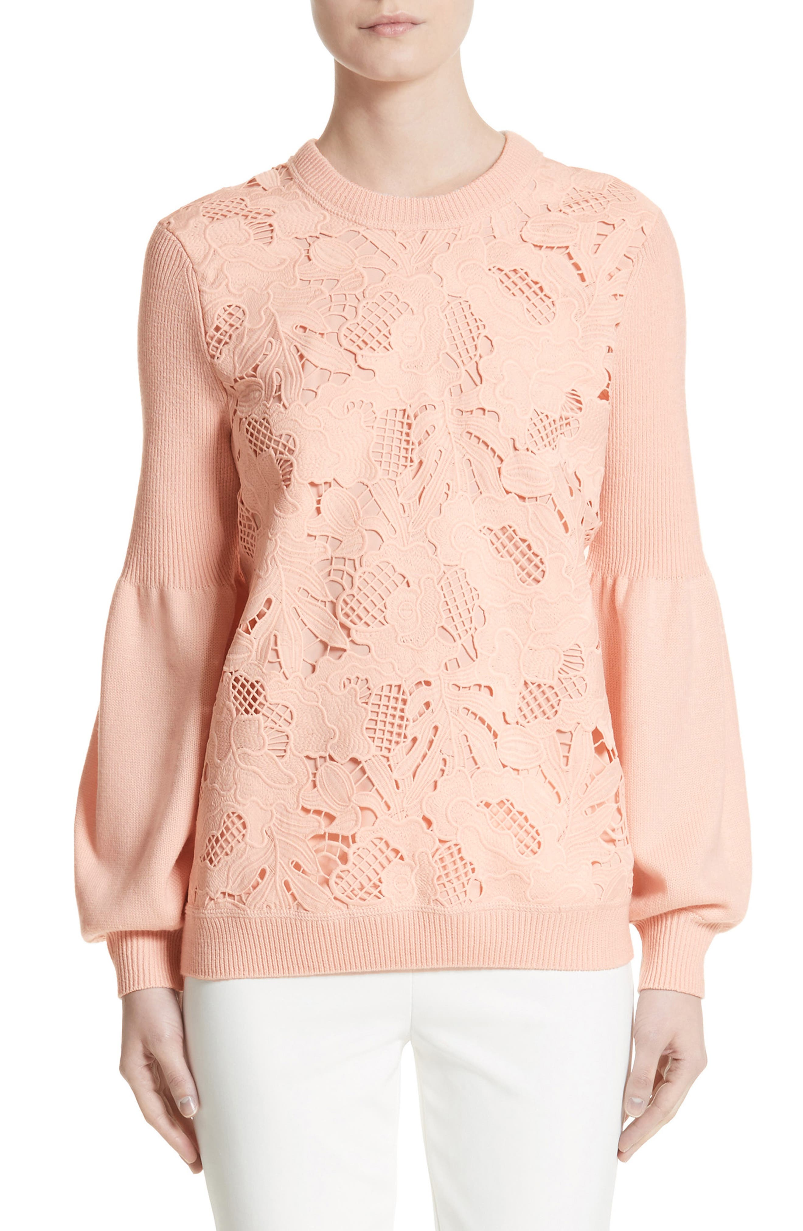 Lace Trim Puff Sleeve Sweater,                             Main thumbnail 1, color,                             Blush