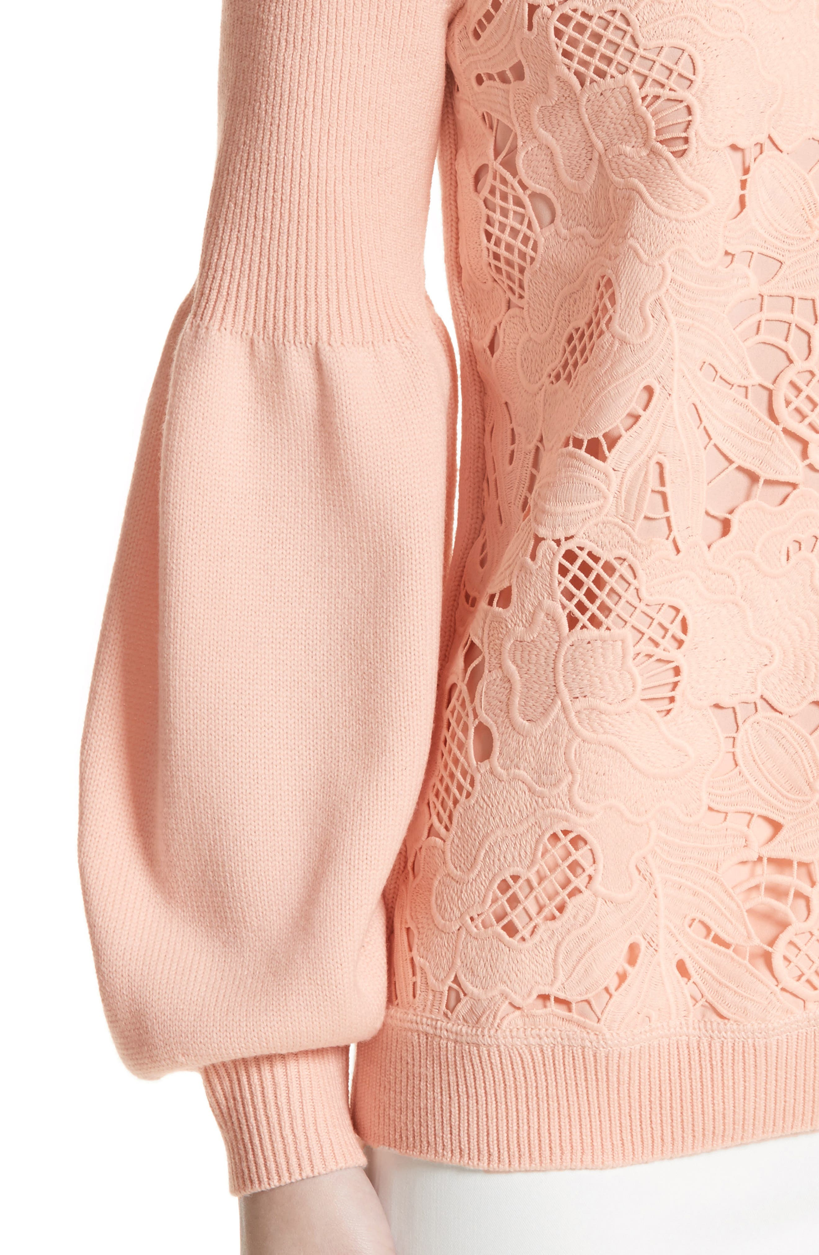Lace Trim Puff Sleeve Sweater,                             Alternate thumbnail 4, color,                             Blush