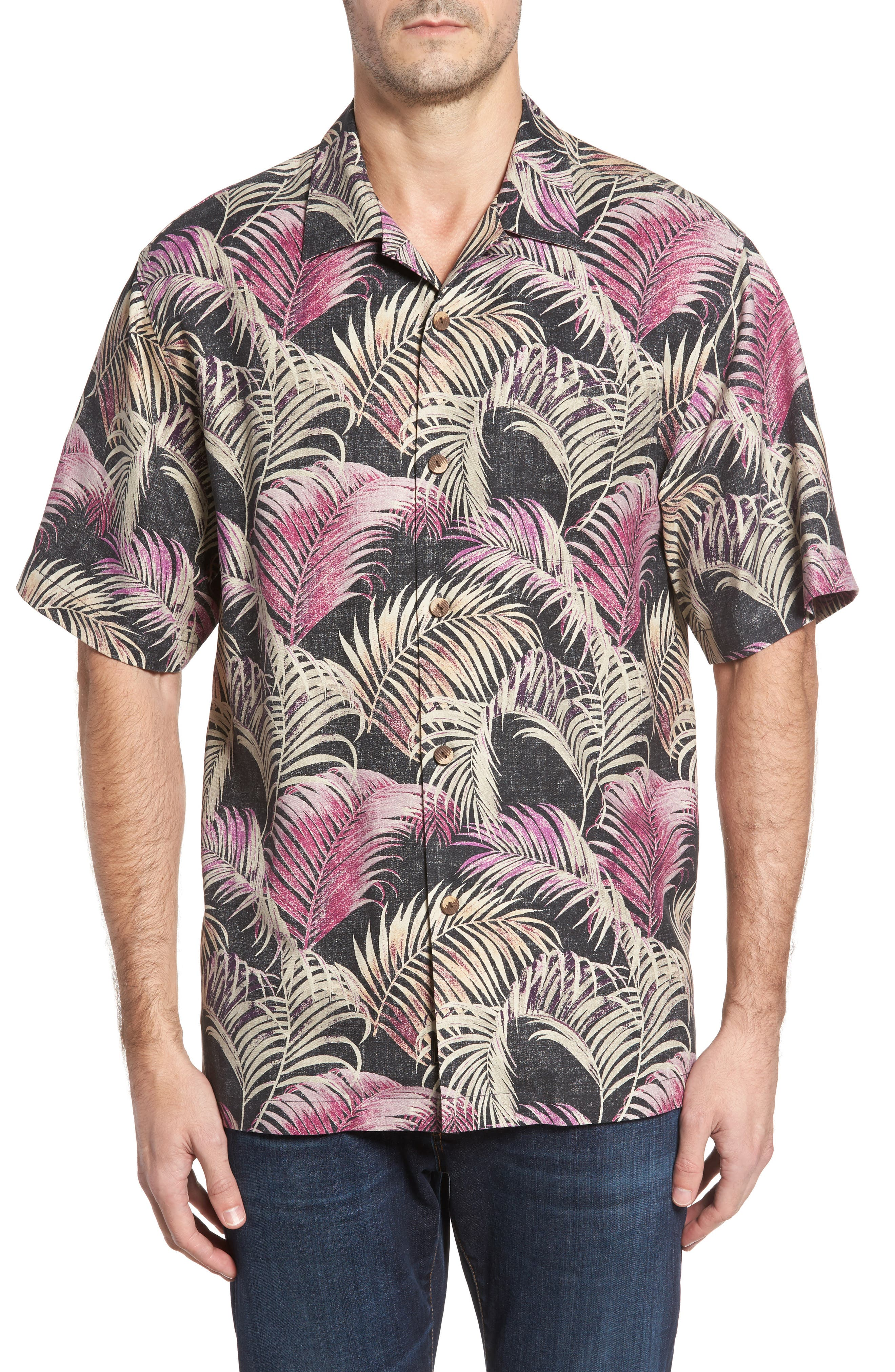 Fez Fronds Standard Fit Silk Camp Shirt,                         Main,                         color, Jet Black