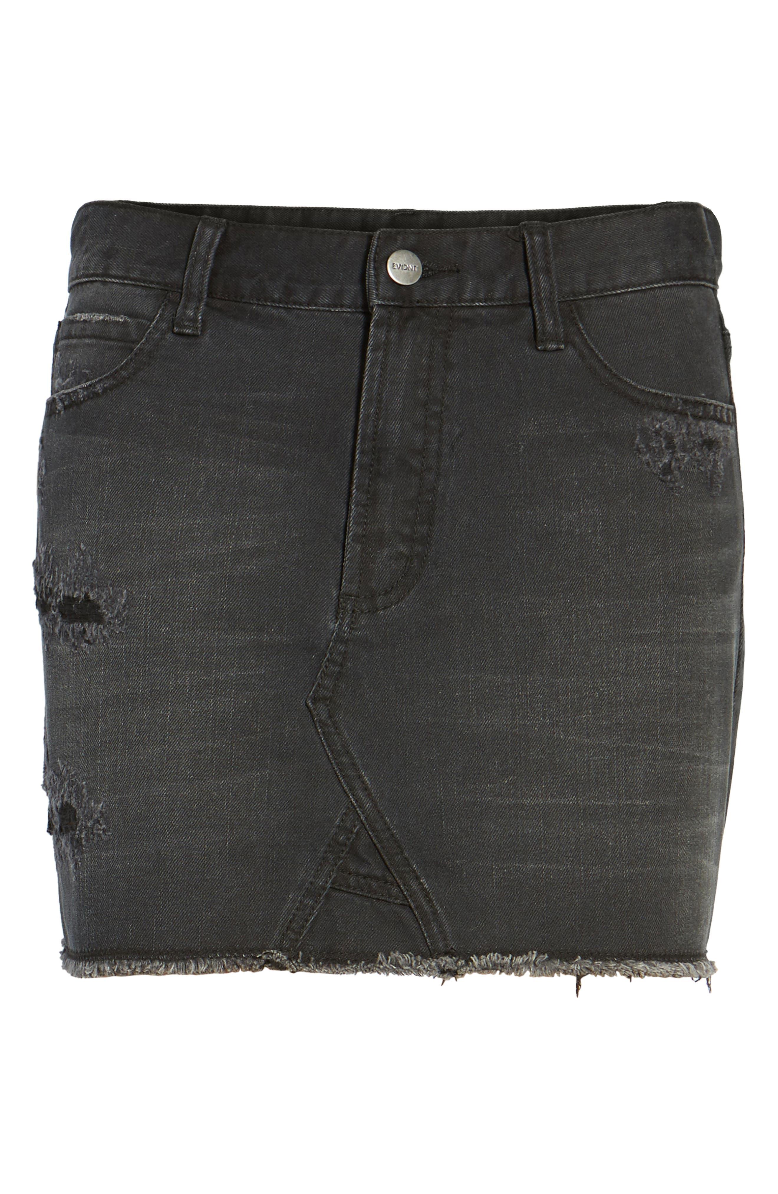 Robbie Cutoff Denim Miniskirt,                             Alternate thumbnail 6, color,                             Black