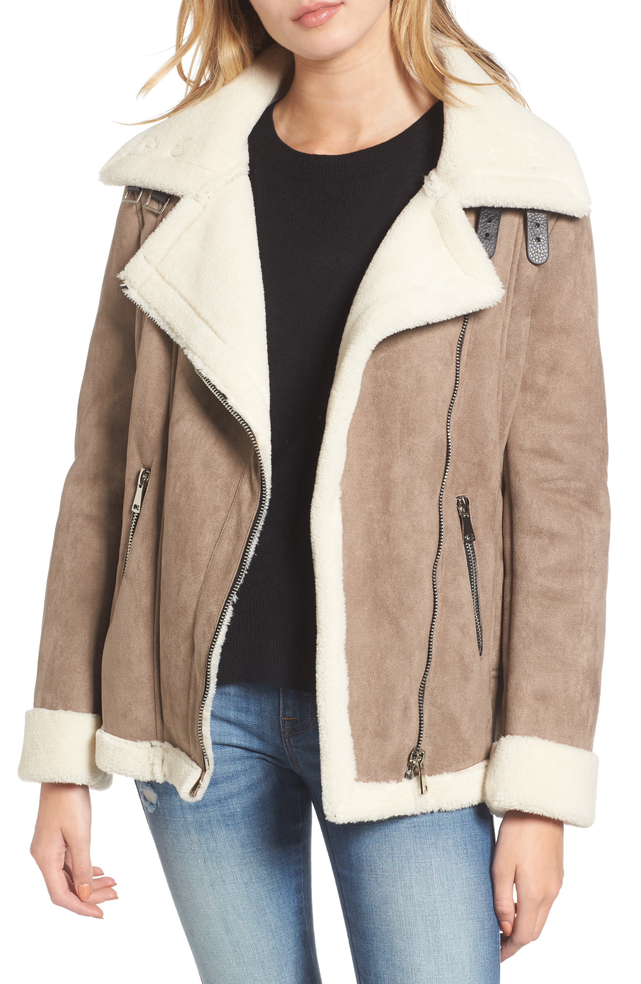 Faux Shearling Oversized Jacket,                             Main thumbnail 1, color,                             Beige