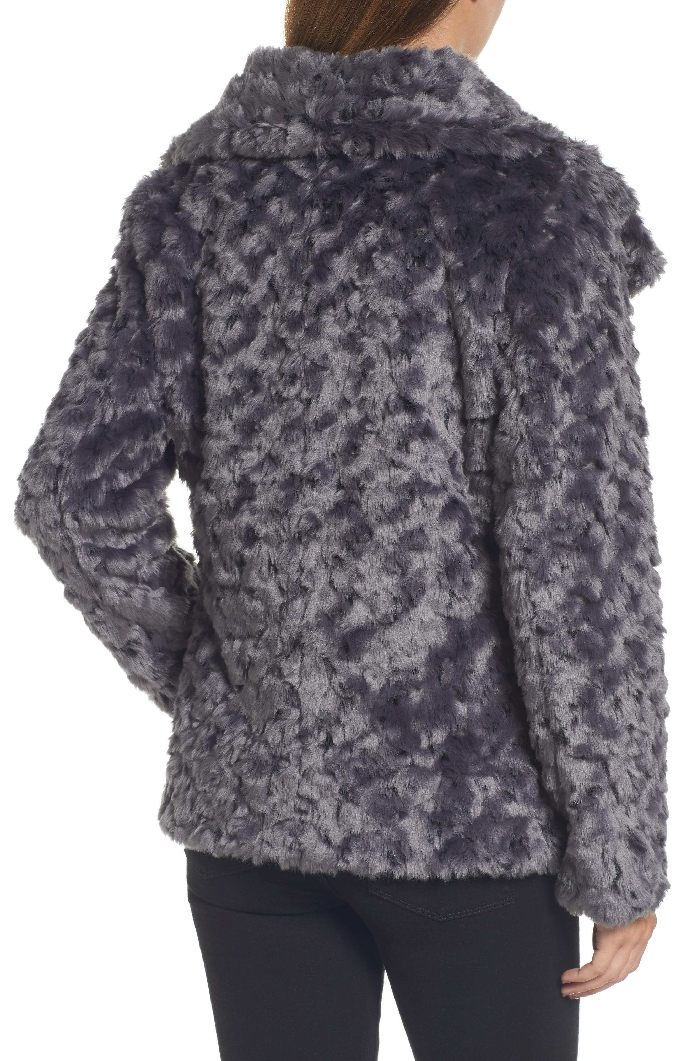 Roslyn Faux Fur Jacket,                             Alternate thumbnail 2, color,                             French Grey