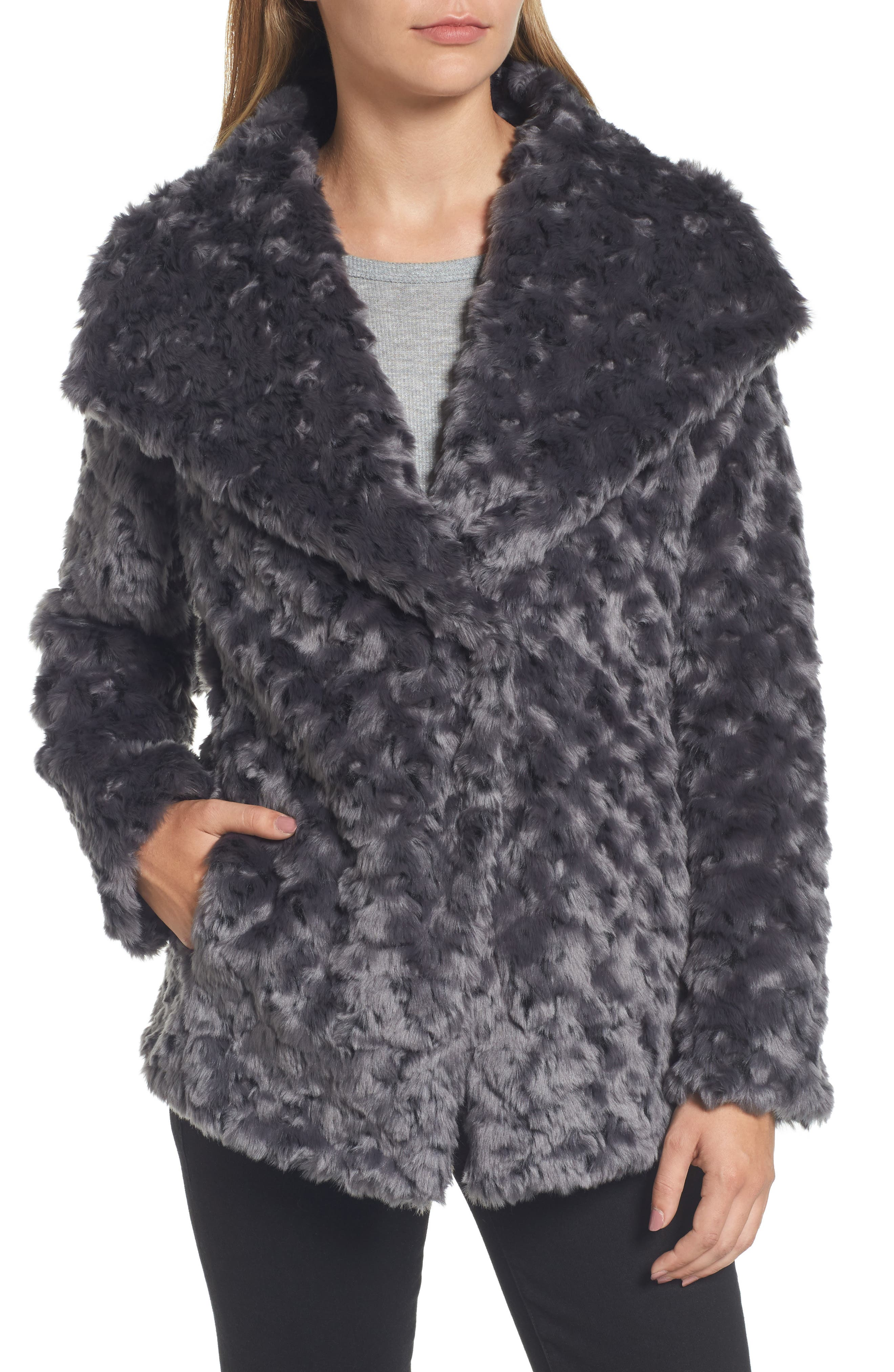 Roslyn Faux Fur Jacket,                             Alternate thumbnail 4, color,                             French Grey