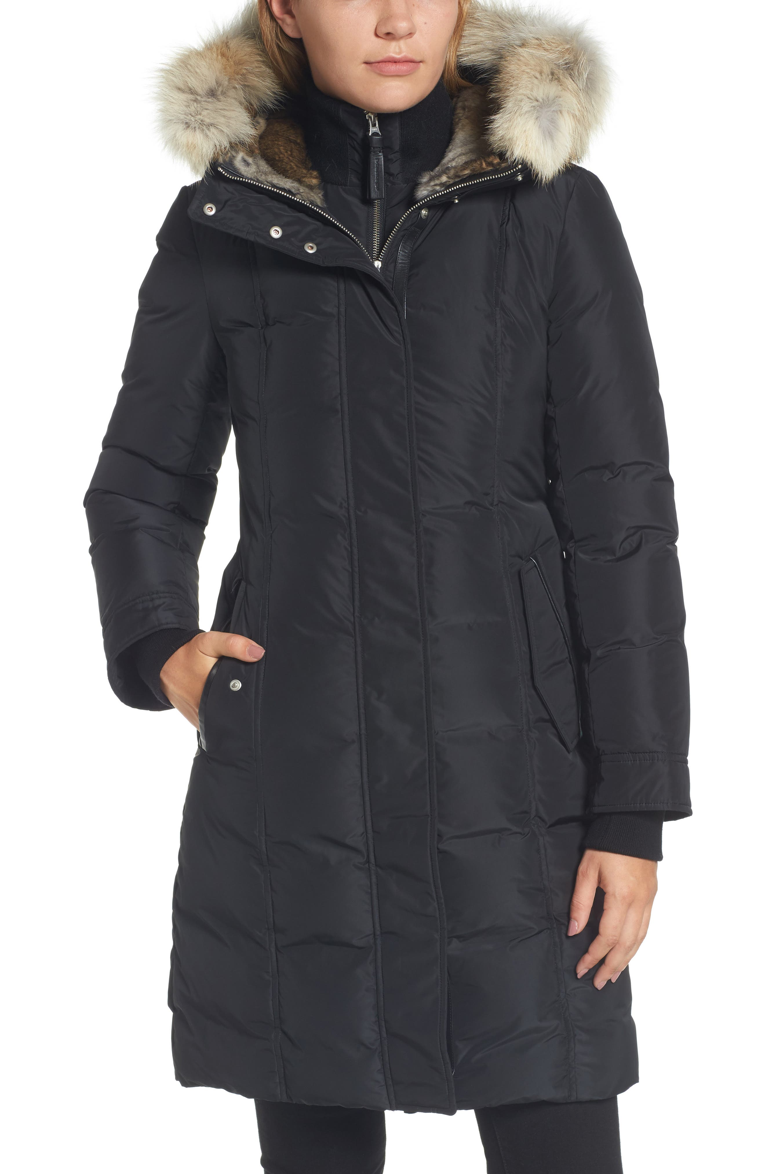 Hooded Down Parka with Genuine Coyote & Rabbit Fur Trim,                             Alternate thumbnail 5, color,                             Black