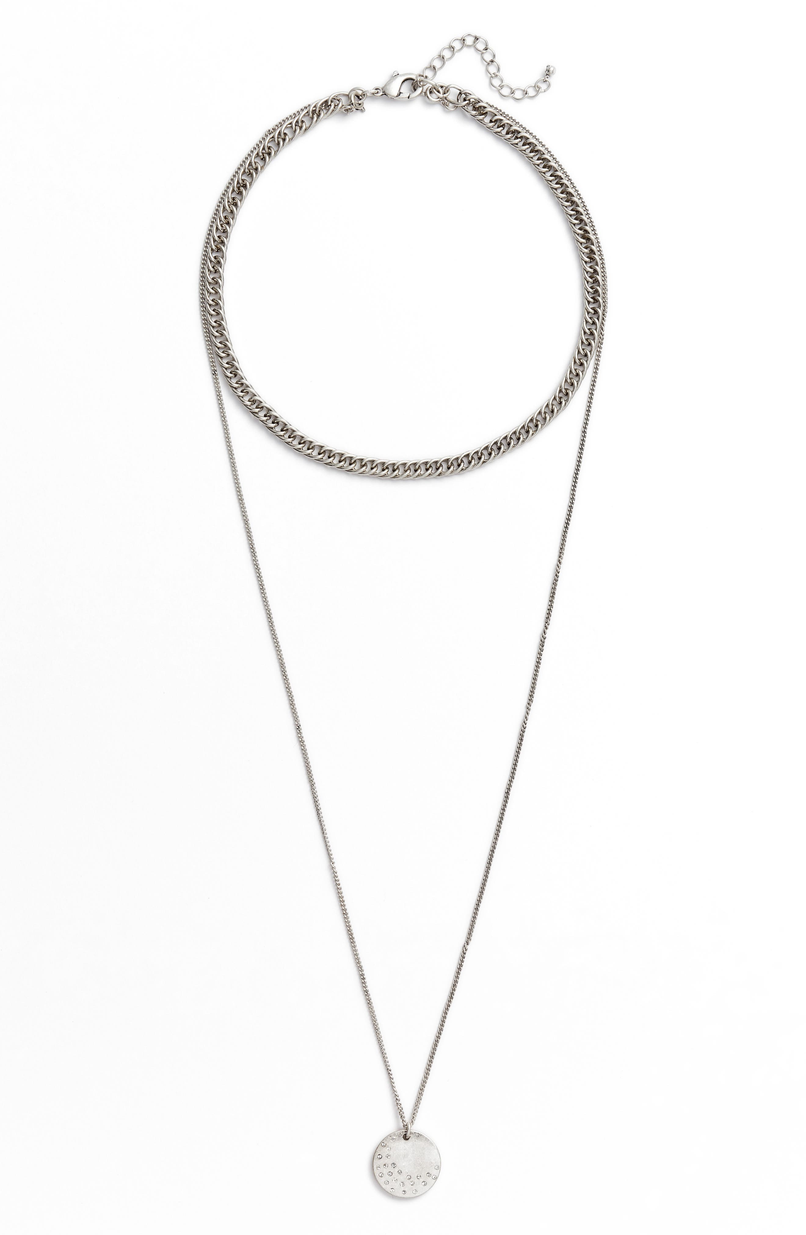 x Something Navy Multistrand Necklace,                         Main,                         color, Clear- Rhodium