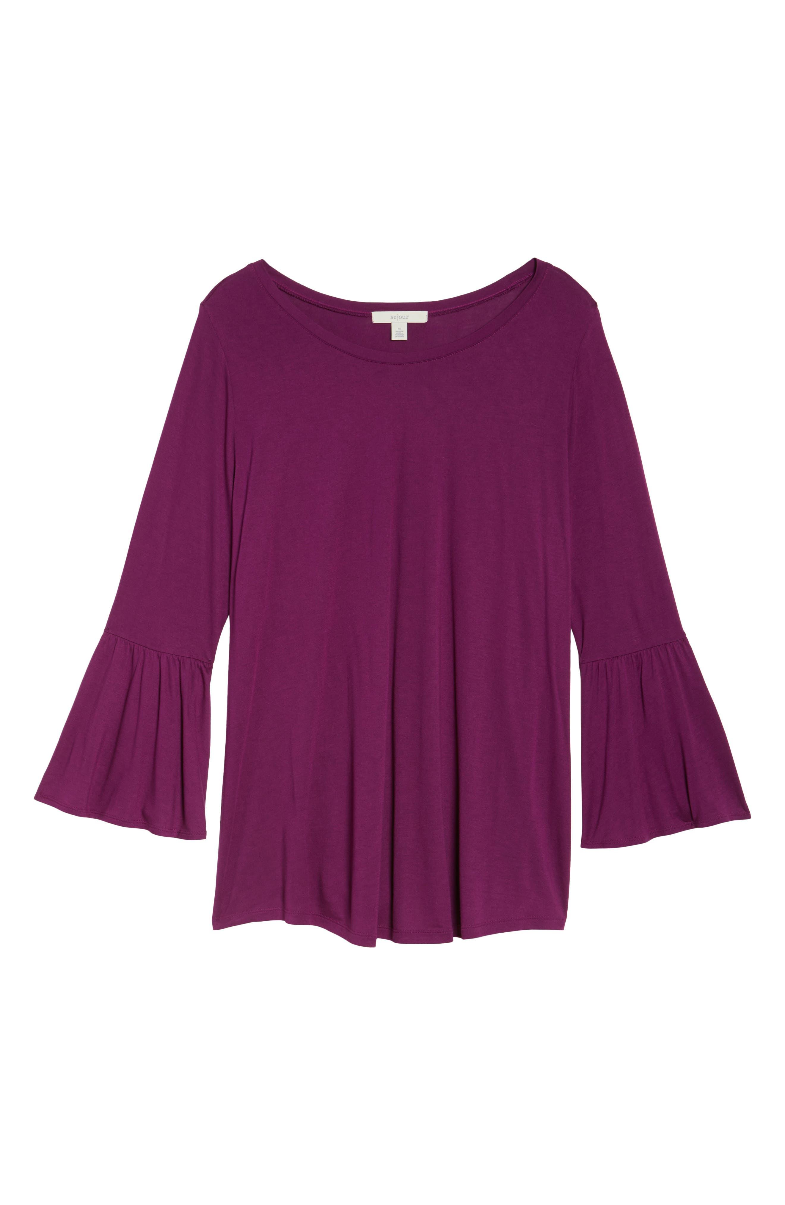 Bell Sleeve Tee,                             Alternate thumbnail 6, color,                             Purple Dark