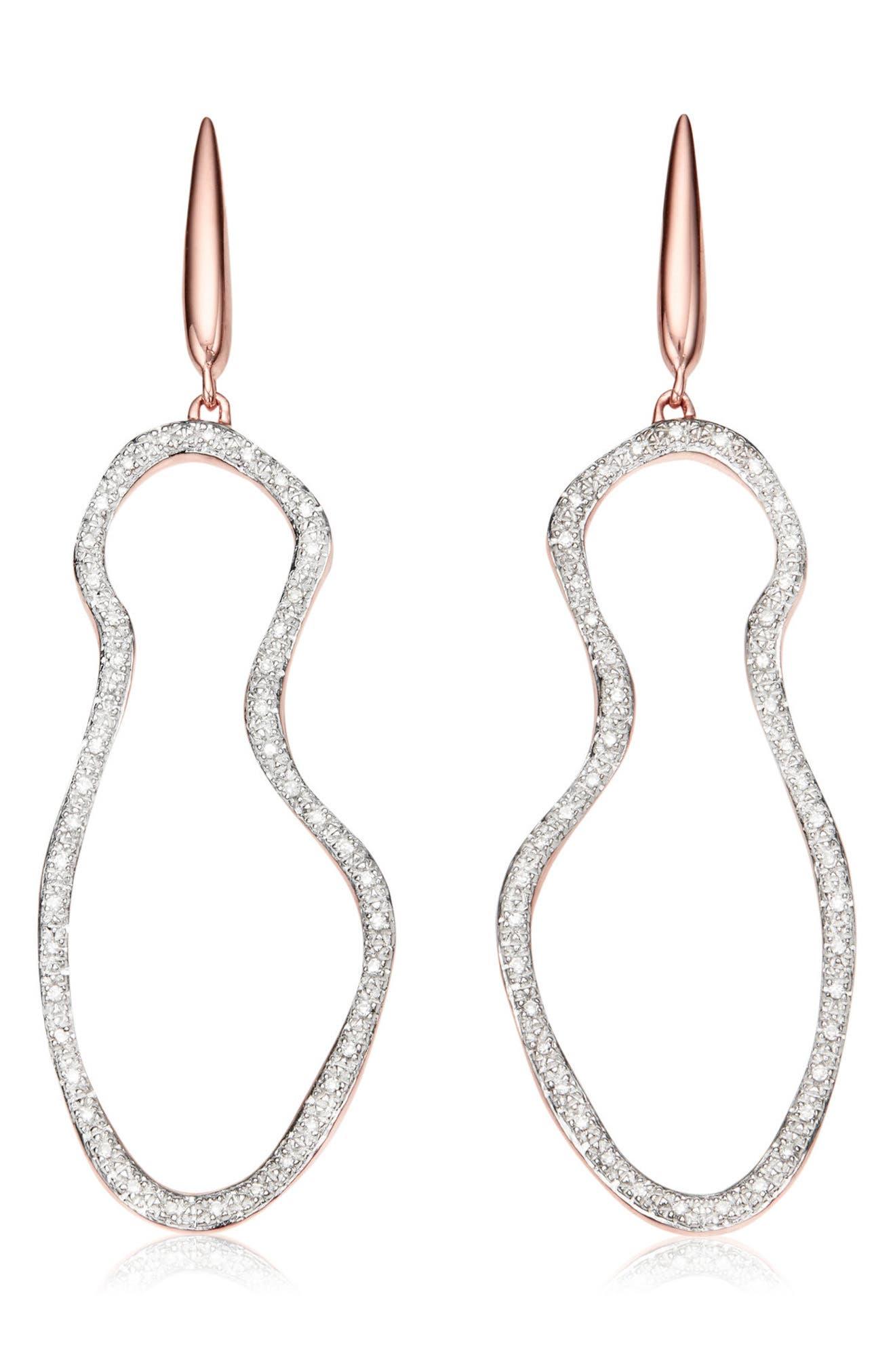 Riva Diamond Drop Earrings,                         Main,                         color, Rose Gold/ Diamond