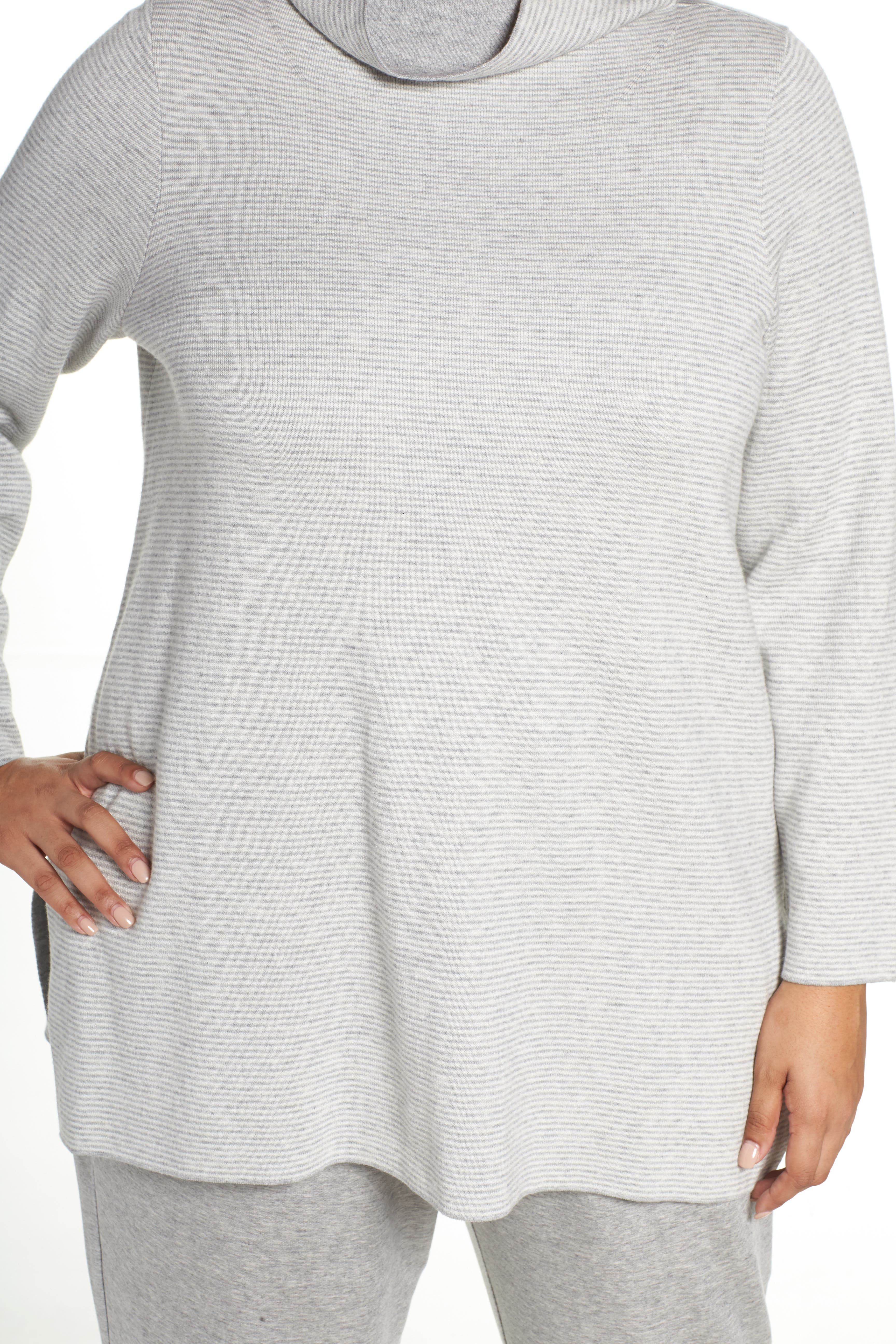 Alternate Image 5  - Eileen Fisher Reversible Funnel Neck Tunic Sweater (Plus Size)