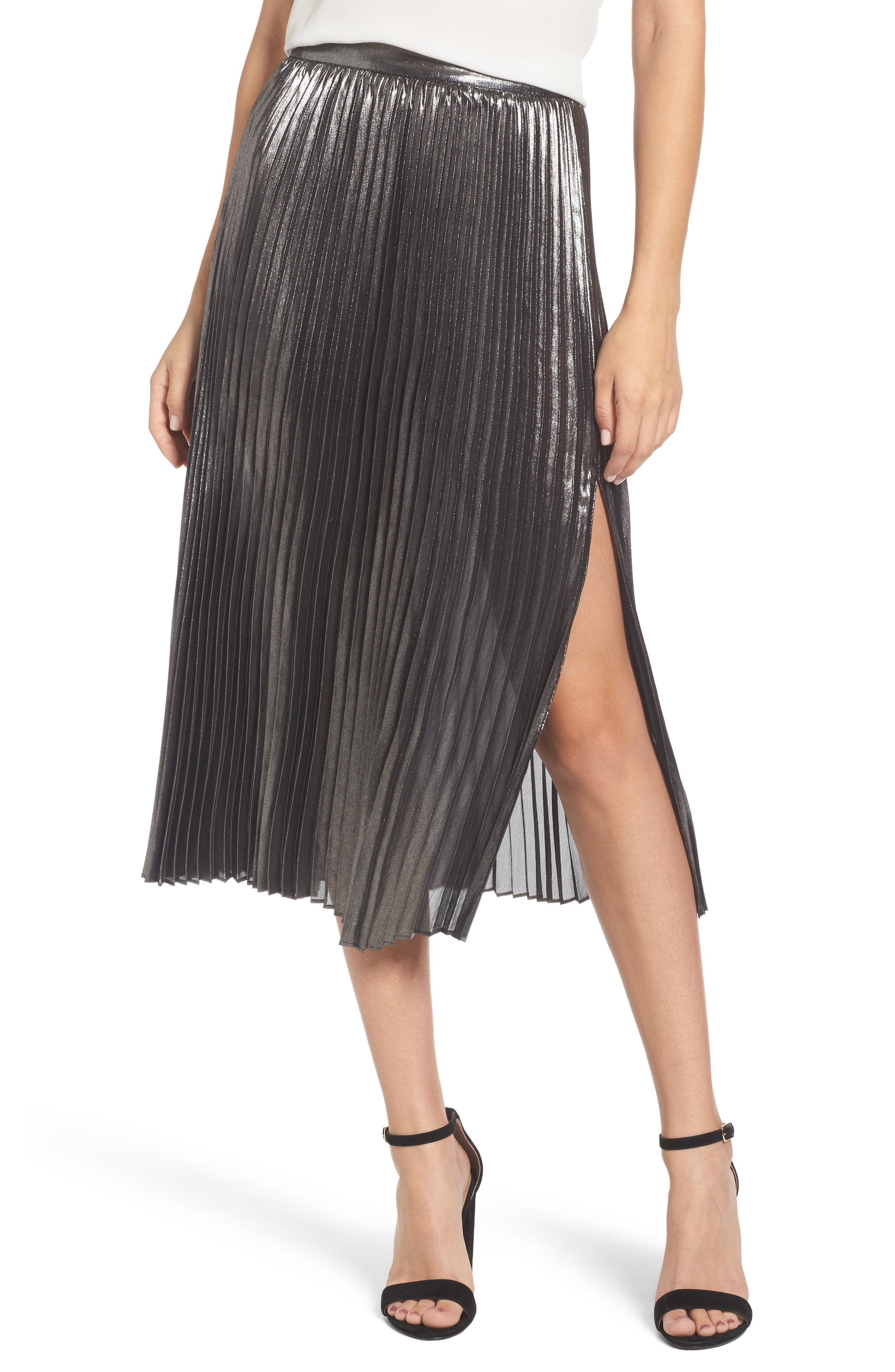 Metallic Pleated Skirt,                         Main,                         color, Silver Foil