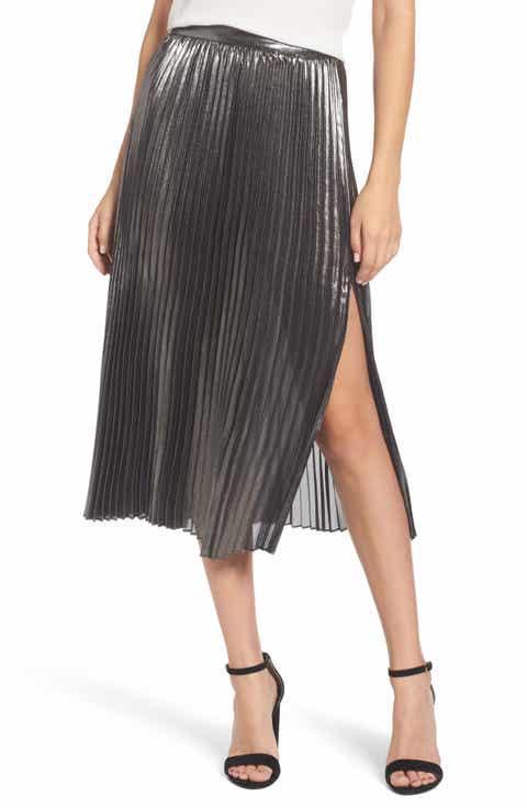 Trouvé Metallic Pleated Skirt