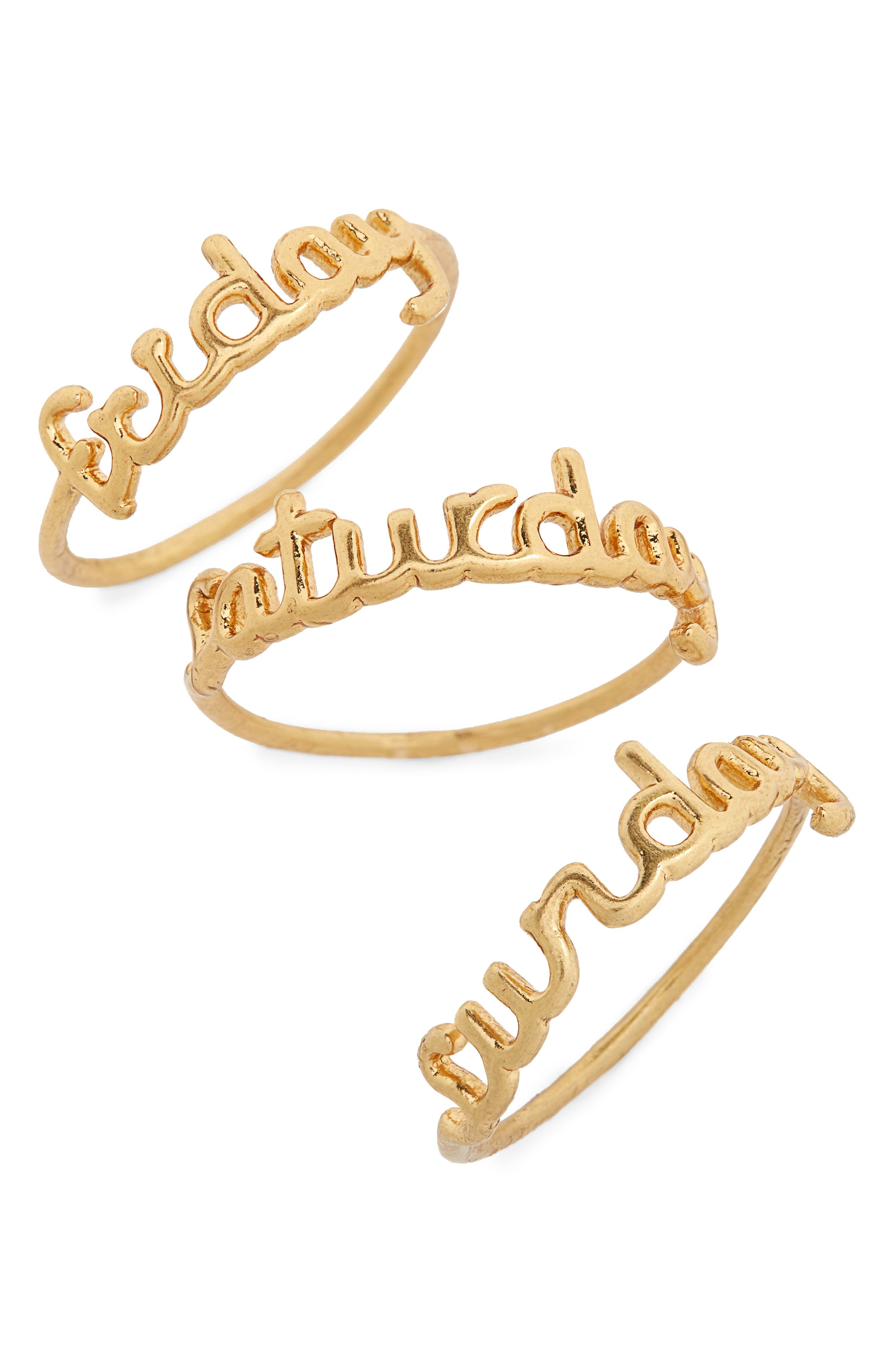 Friday Saturday Sunday Stacking Rings,                         Main,                         color, Gold Ox
