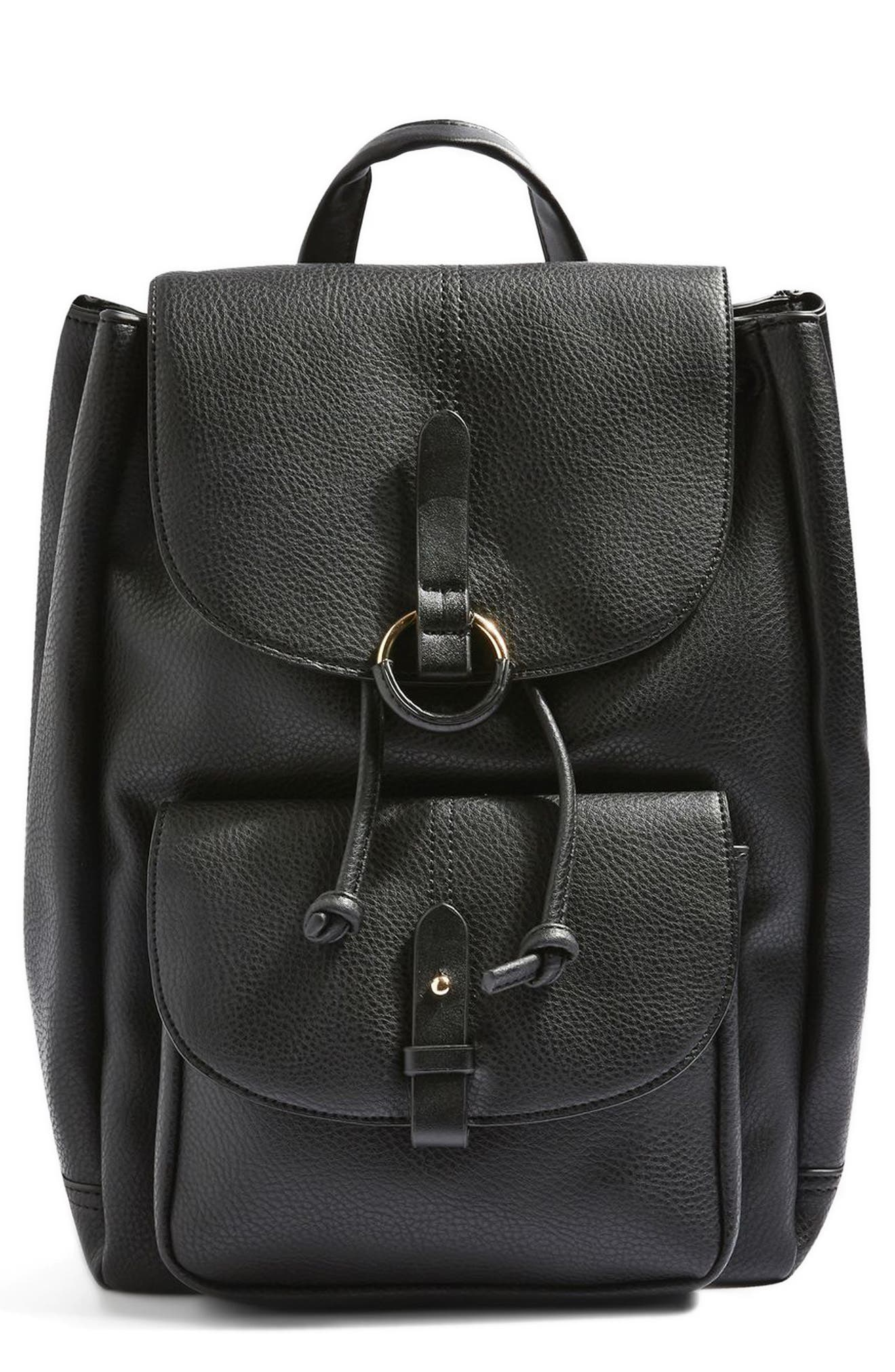 Topshop Bailey Ring Faux Leather Backpack