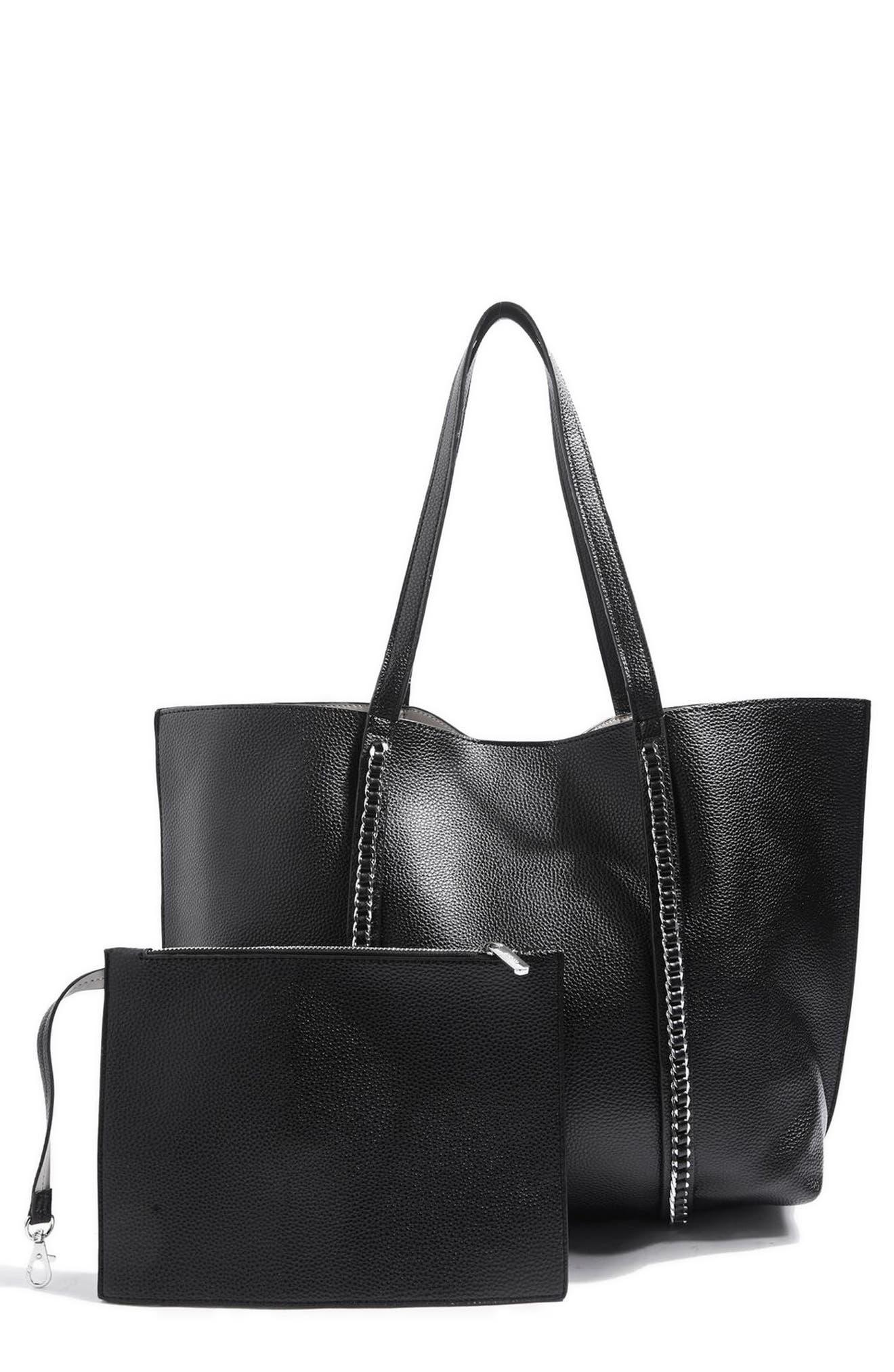 Sabrina Chain Trim Faux Leather Shopper,                             Alternate thumbnail 3, color,                             Black