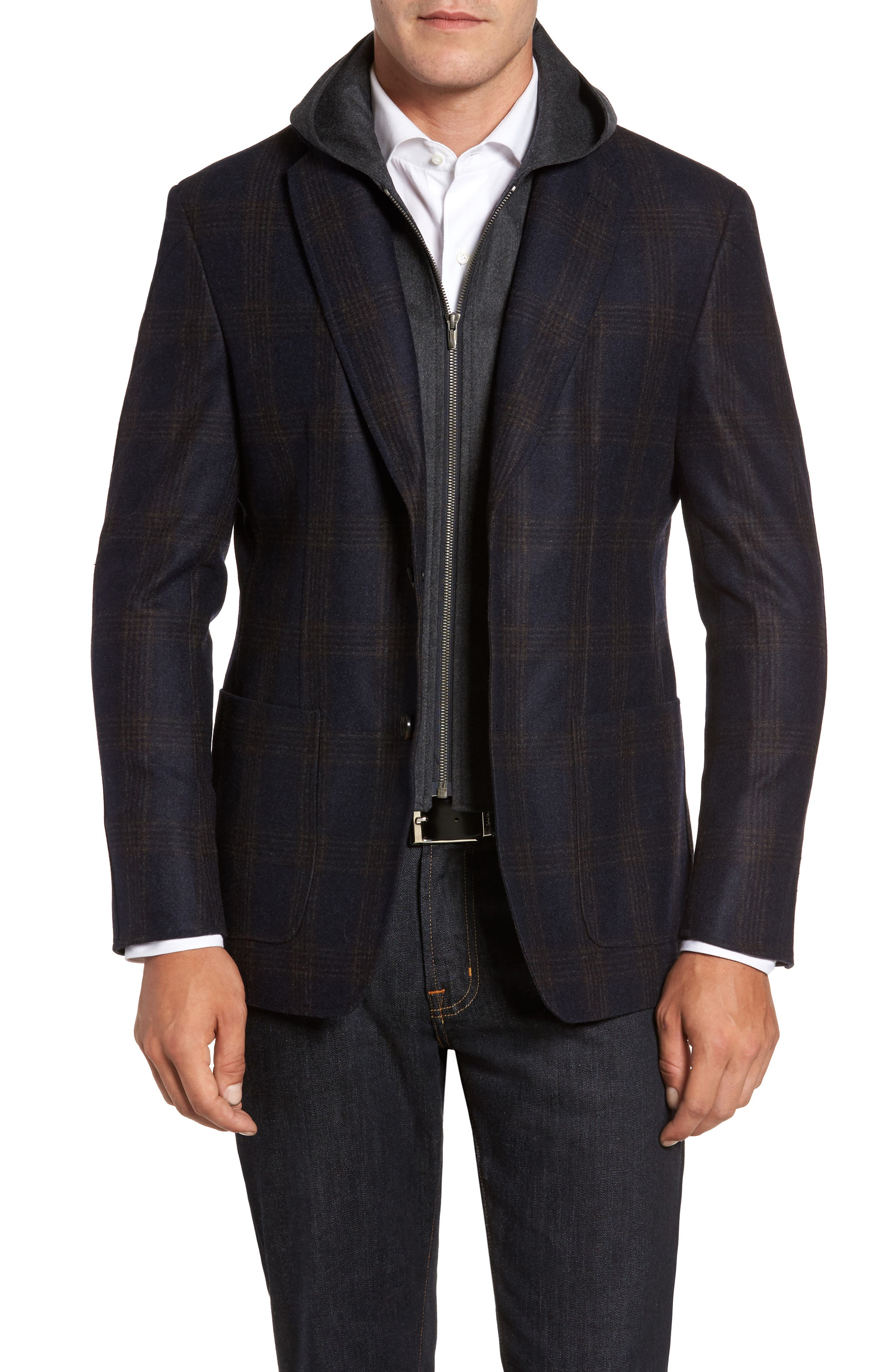 Classic Fit Hooded Sport Coat,                             Main thumbnail 1, color,                             Navy Plaid