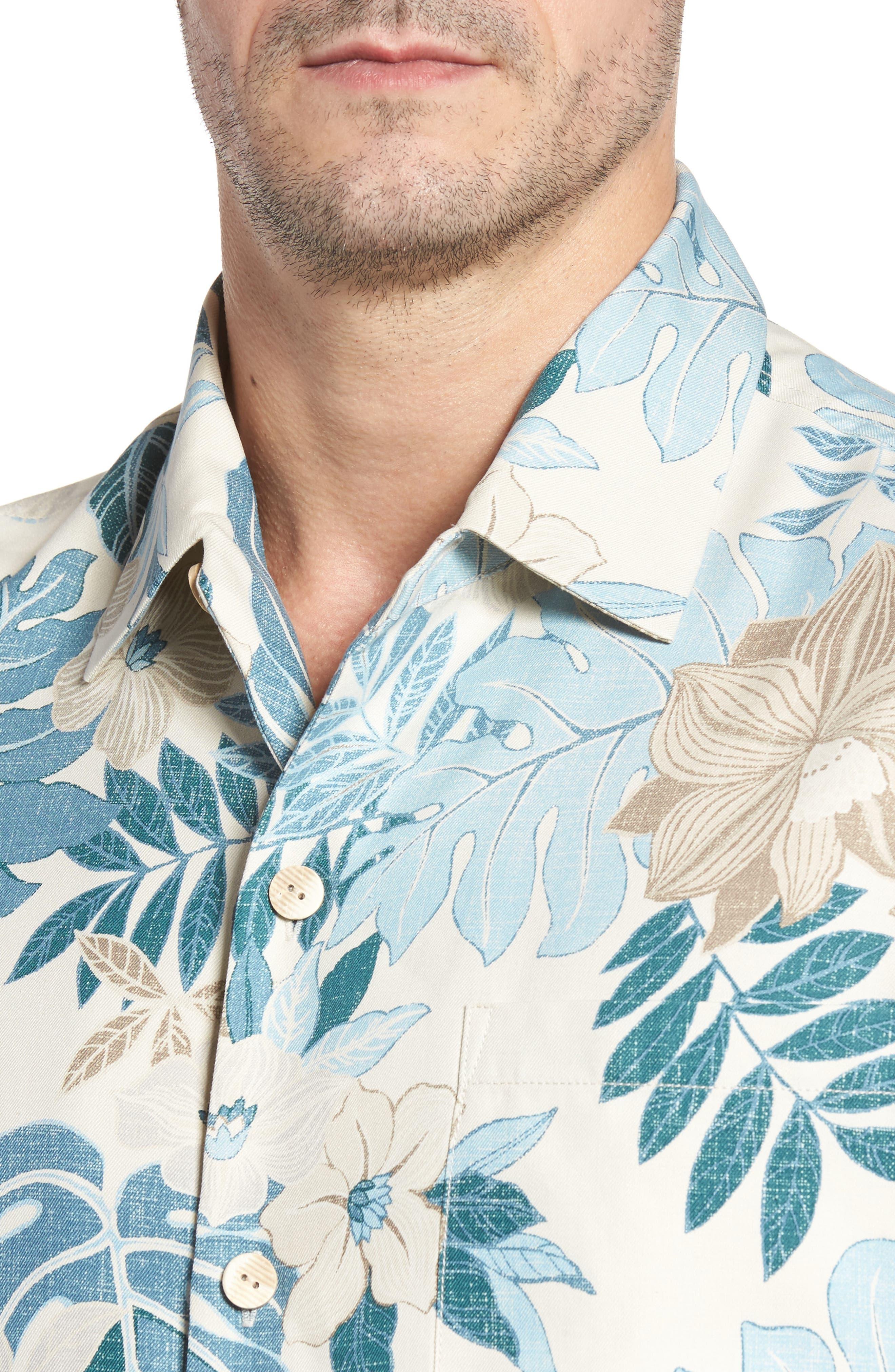 Desert Blooms Standard Fit Silk Camp Shirt,                             Alternate thumbnail 4, color,                             Coconut Cream