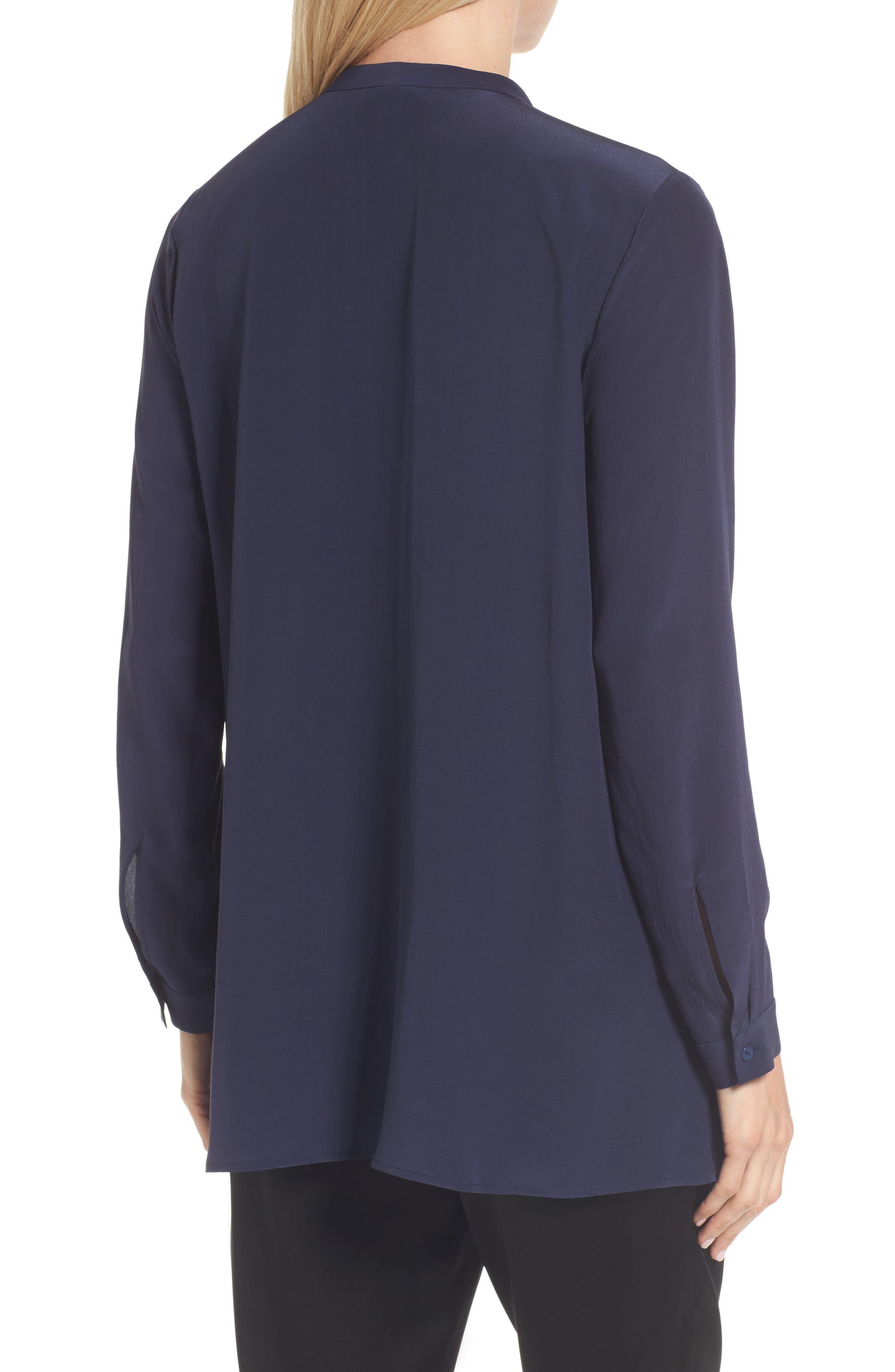 Silk Shirt,                             Alternate thumbnail 2, color,                             Midnight