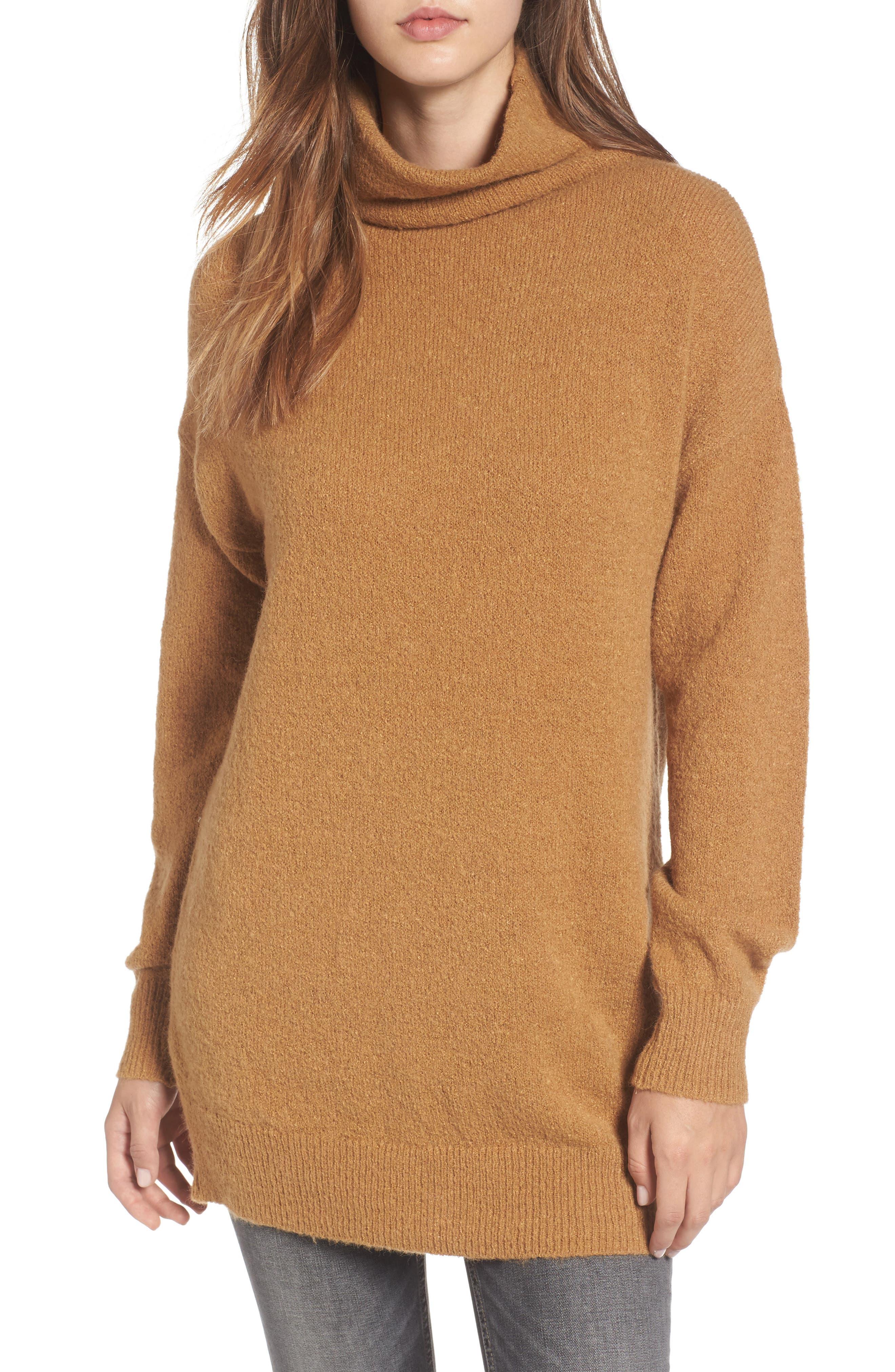 Bouclé Turtleneck Tunic Sweater,                             Main thumbnail 1, color,                             Brown Cattail