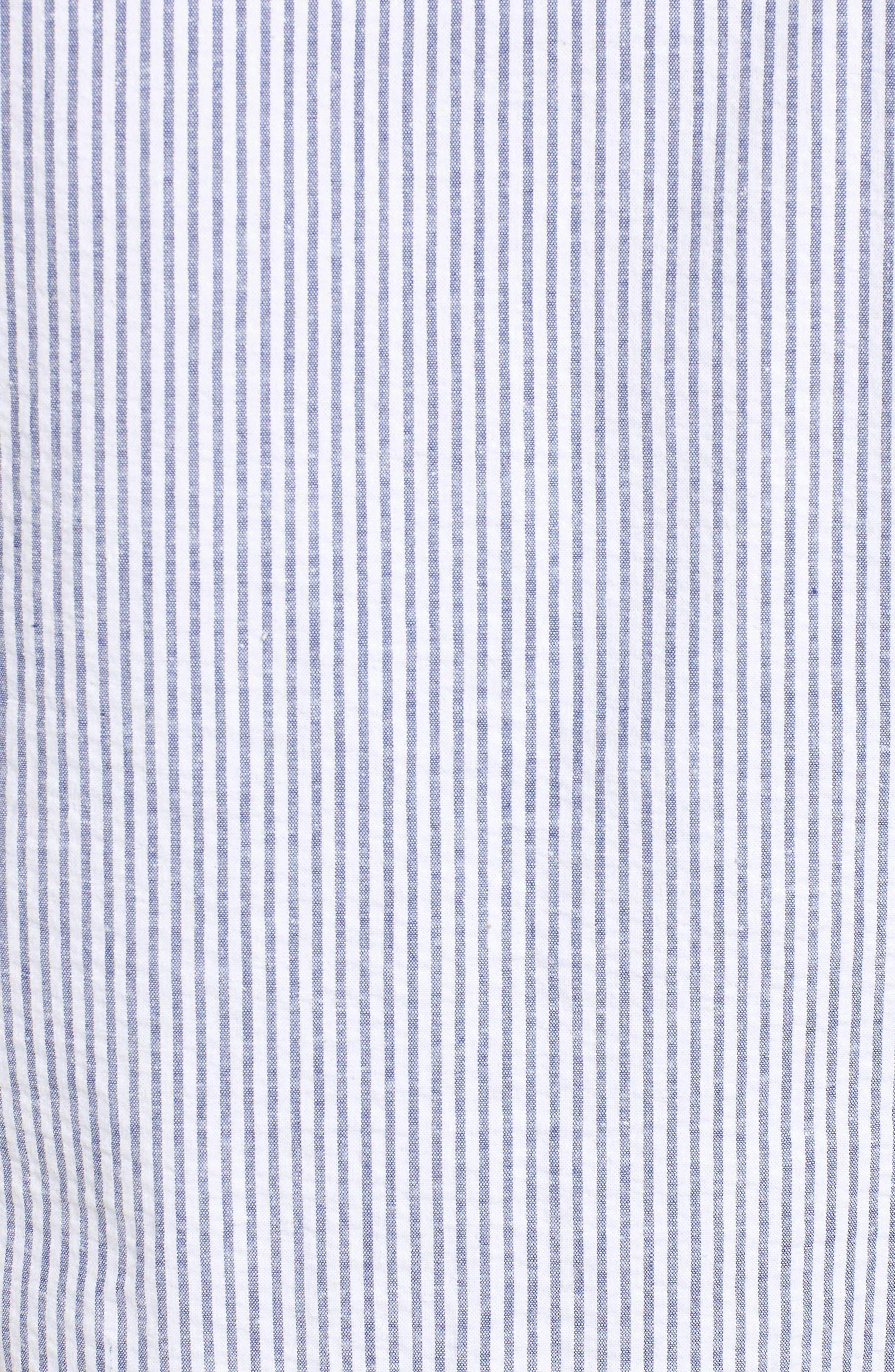 Caslon Button Front Shirt,                             Alternate thumbnail 5, color,                             Blue- White Seersucker