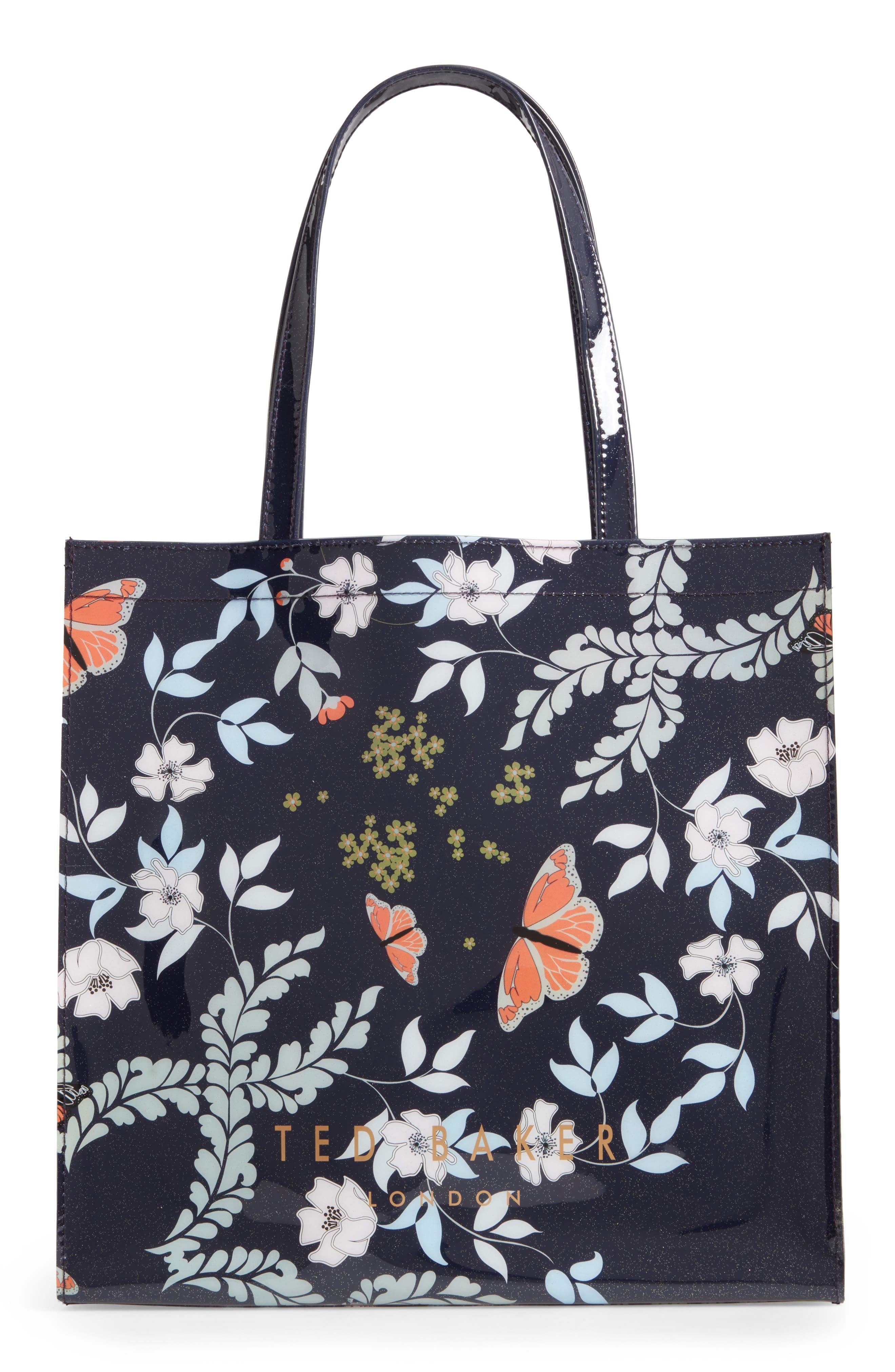 Large Icon - Kyoto Gardens Tote,                             Alternate thumbnail 3, color,                             Mid Blue