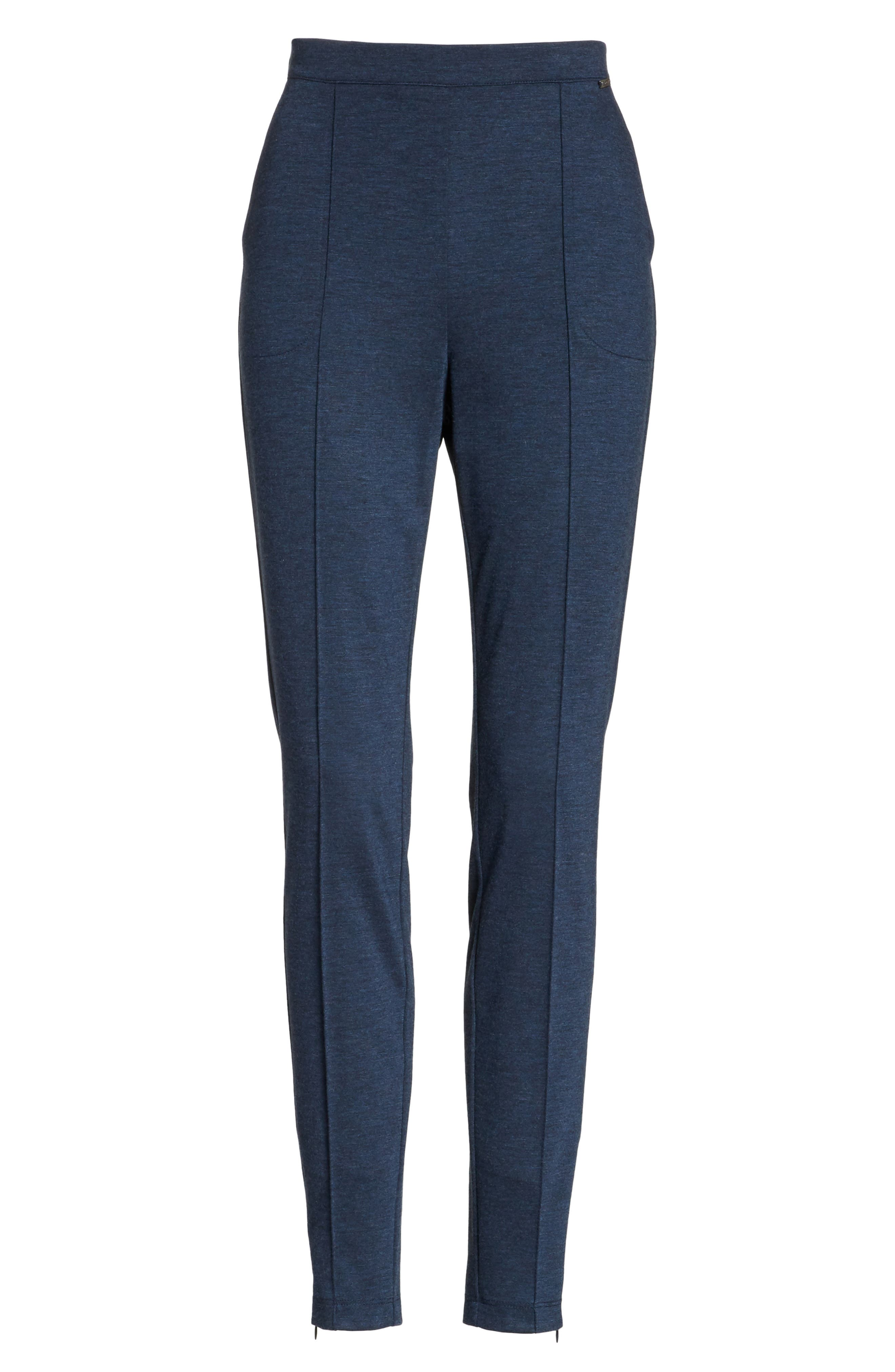 Mélange Stretch Ponte Crop Pants,                             Alternate thumbnail 13, color,                             Dark Blue