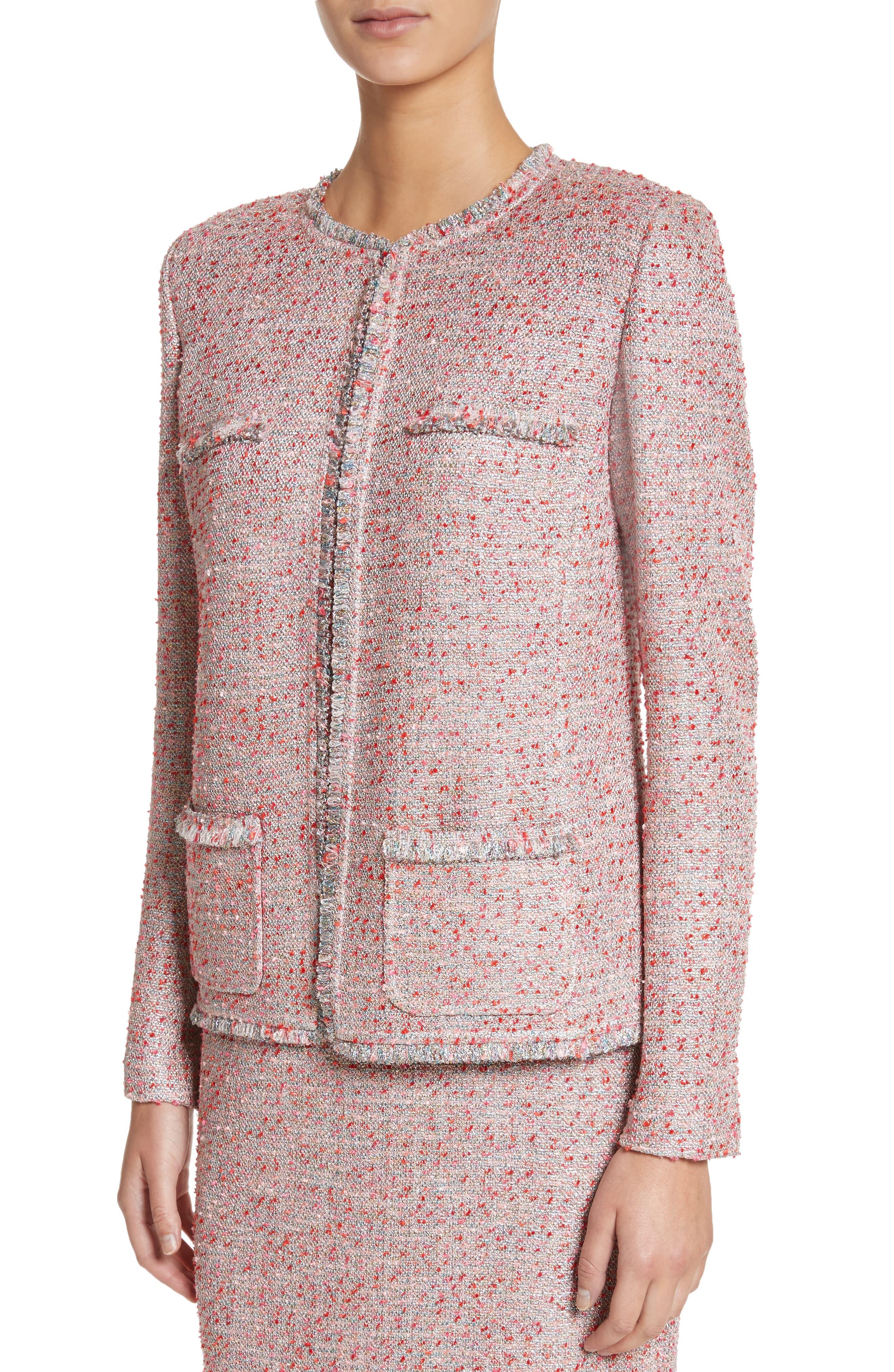 Metallic Tweed Jacket,                             Alternate thumbnail 4, color,                             Rosa Multi