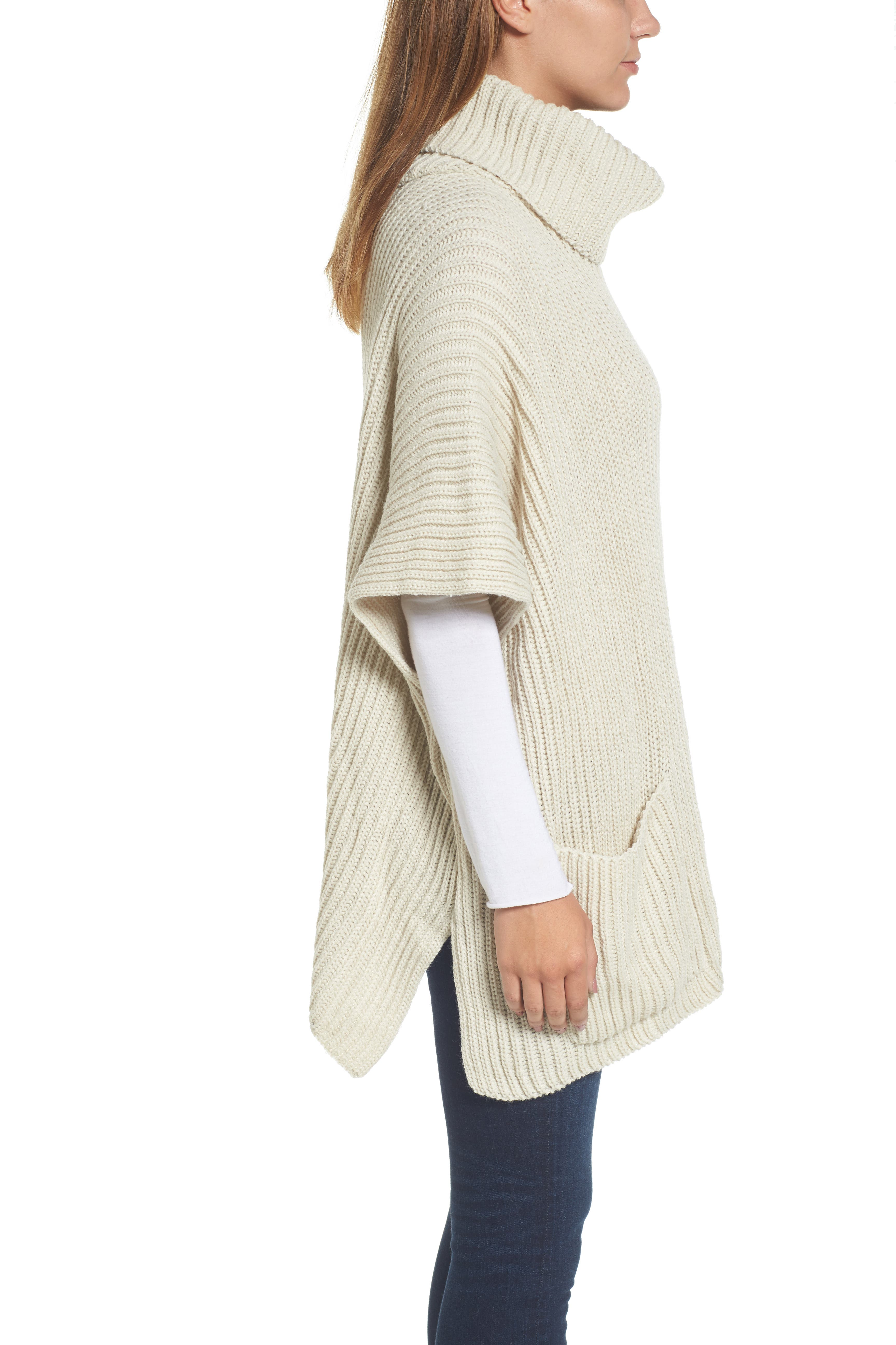 Cowl Neck Poncho,                             Alternate thumbnail 3, color,                             Ivory