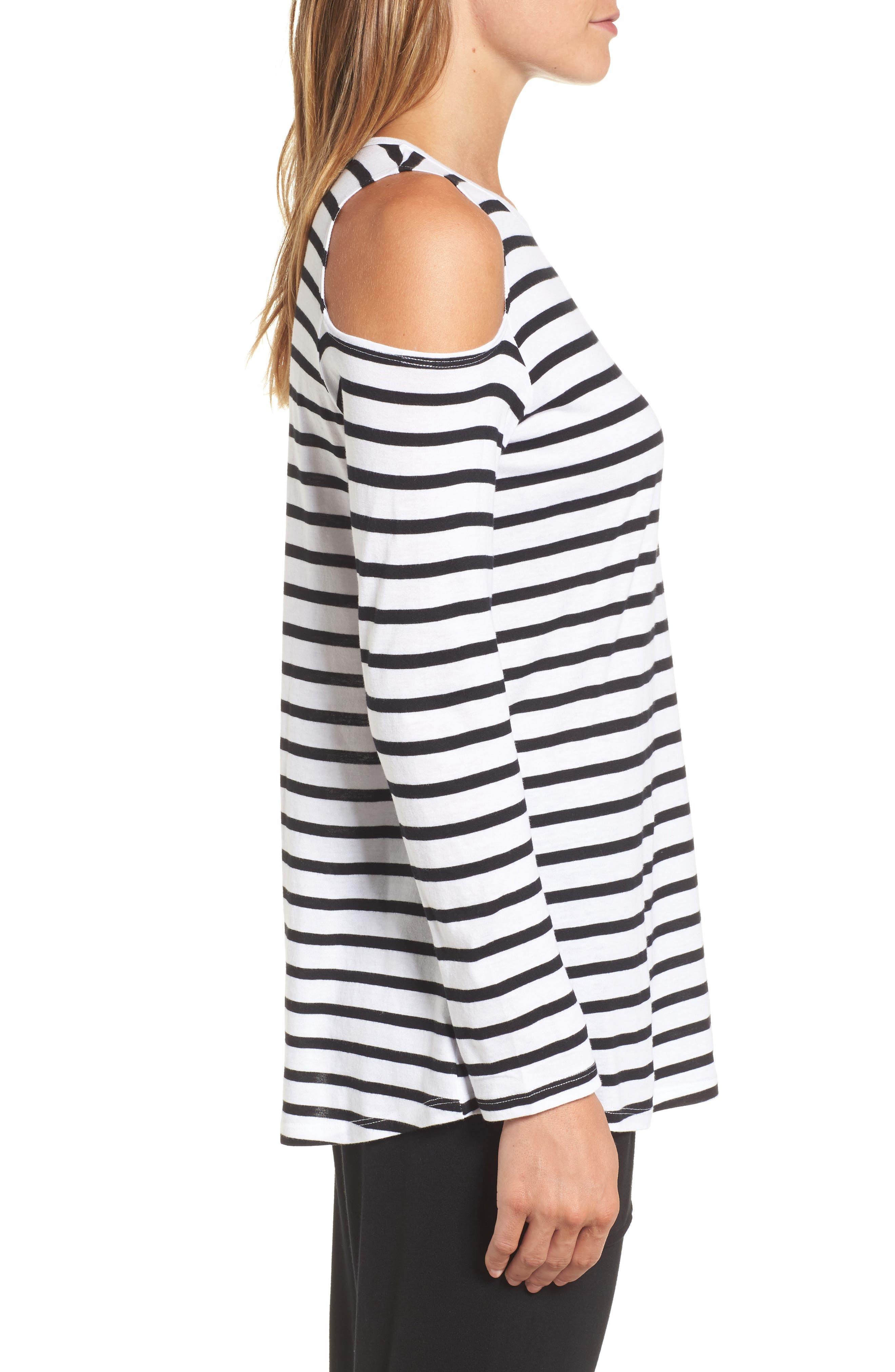 Open Shoulder Stripe Top,                             Alternate thumbnail 3, color,                             White Black