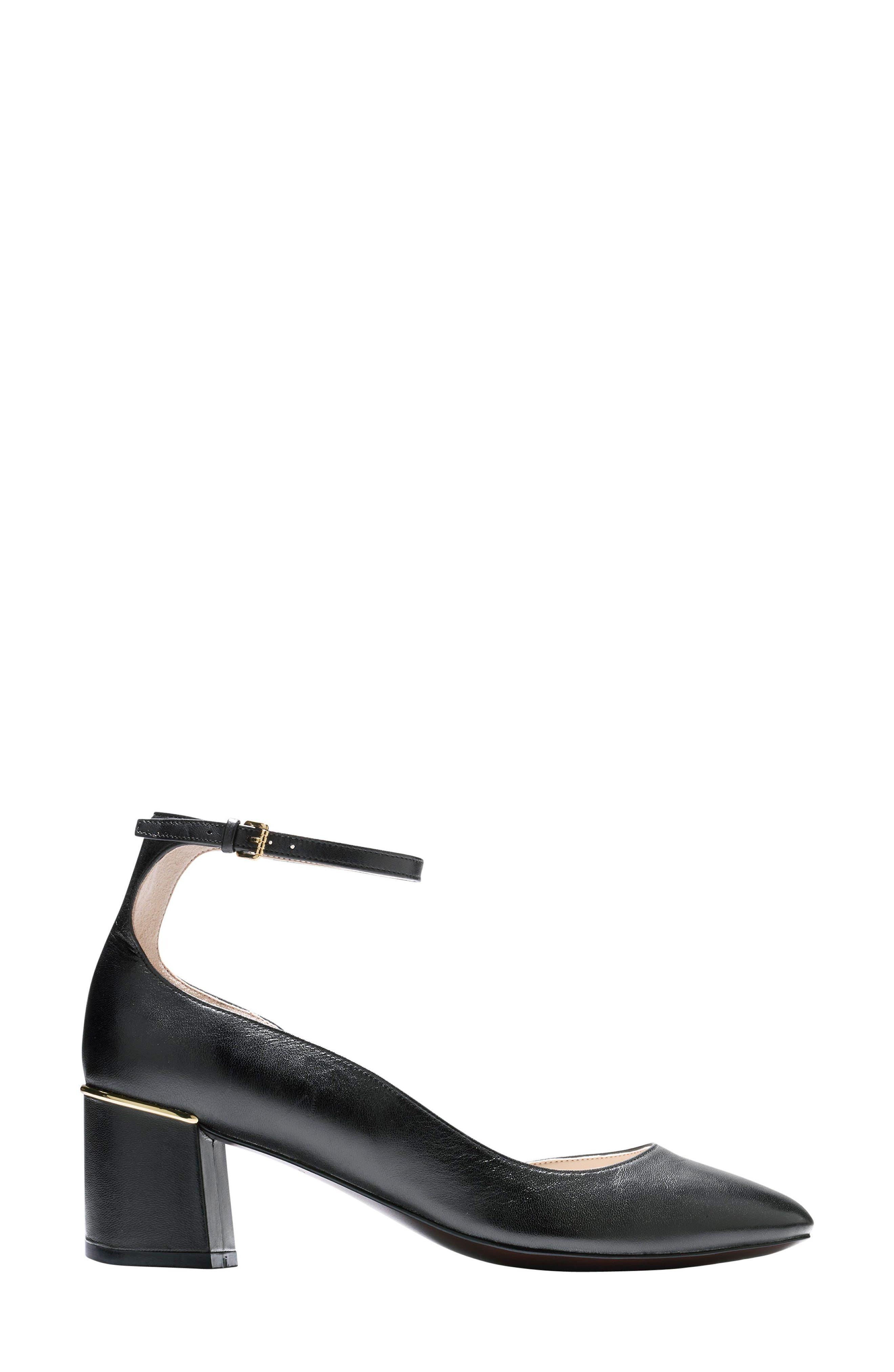 Warner Ankle Strap Pump,                             Alternate thumbnail 3, color,                             Black Leather