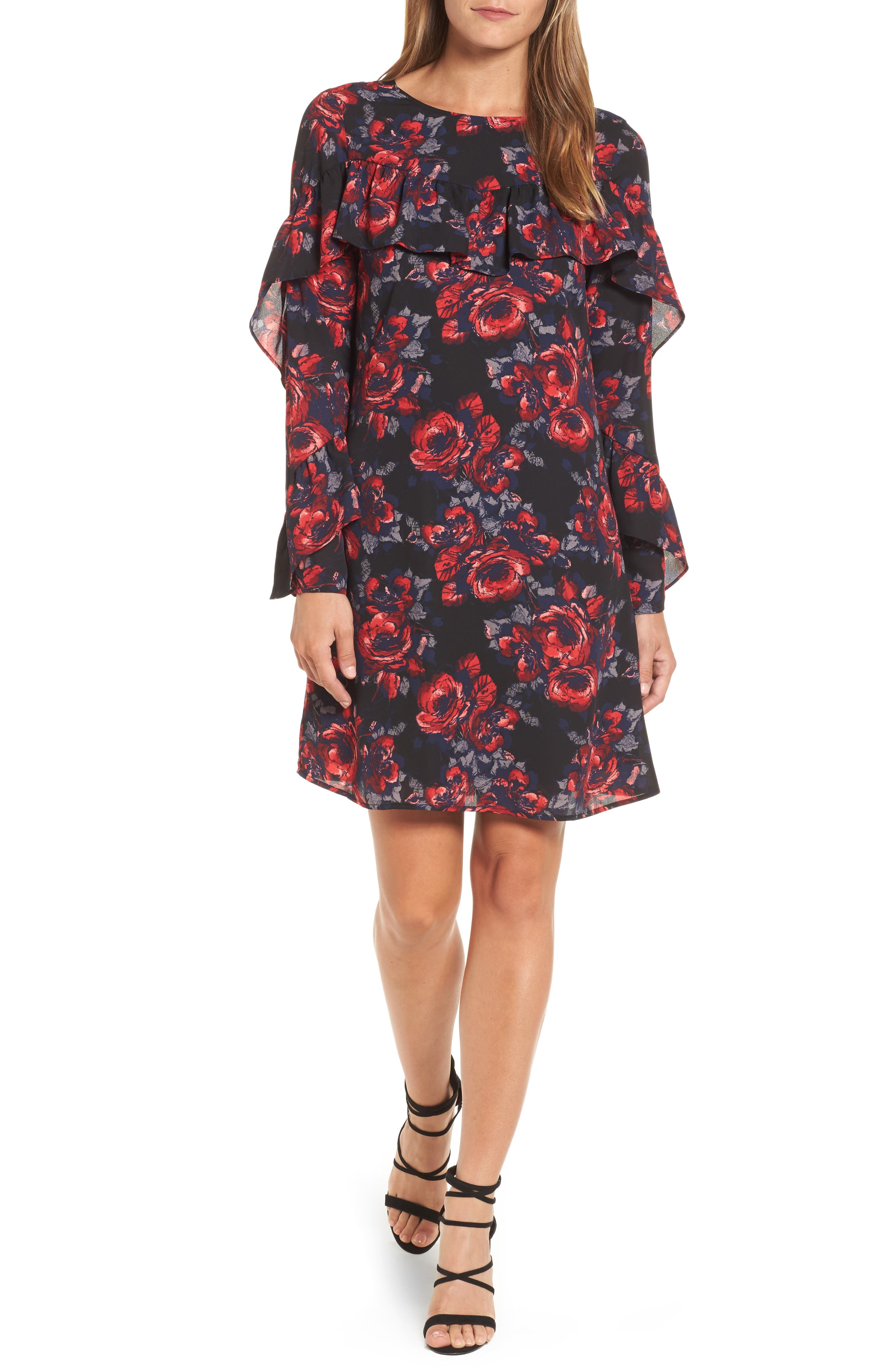 Ruffle Shift Dress,                         Main,                         color, Black- Red Wild Floral
