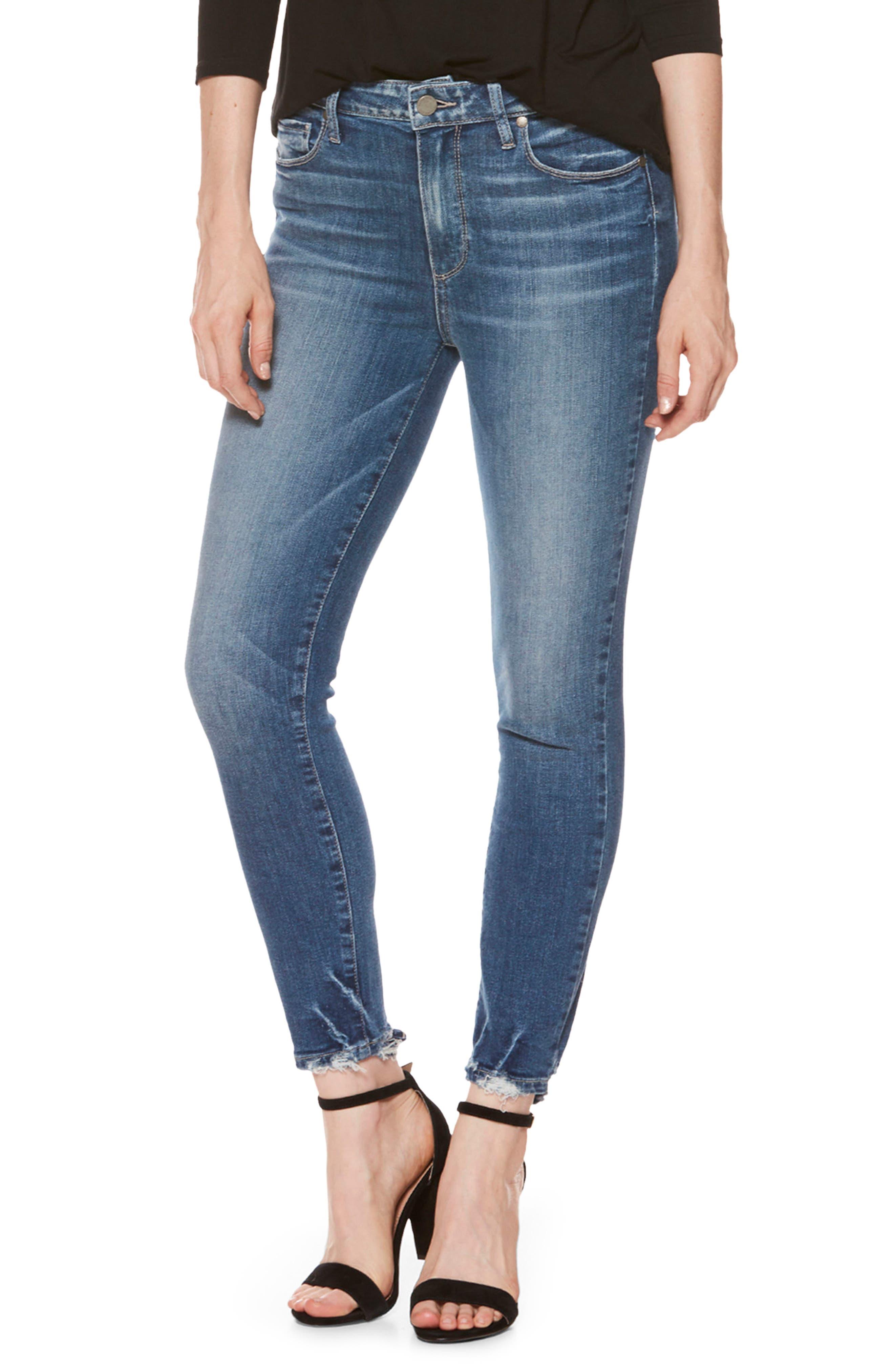 Alternate Image 1 Selected - PAIGE Hoxton High Waist Crop Skinny Jeans (Addler Blue)