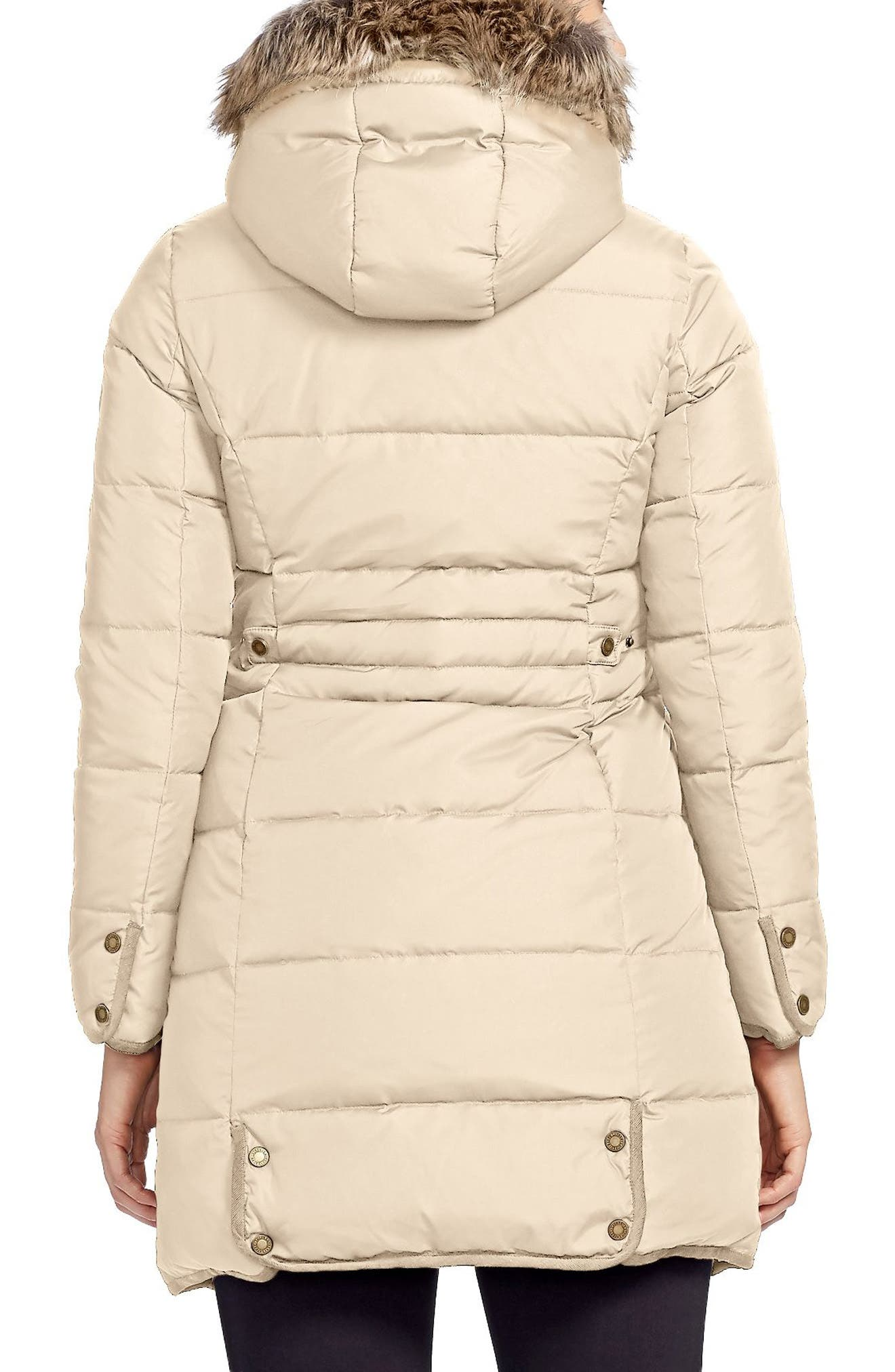 Quilted Parka with Faux Fur Trim,                             Alternate thumbnail 3, color,                             Racing Khaki
