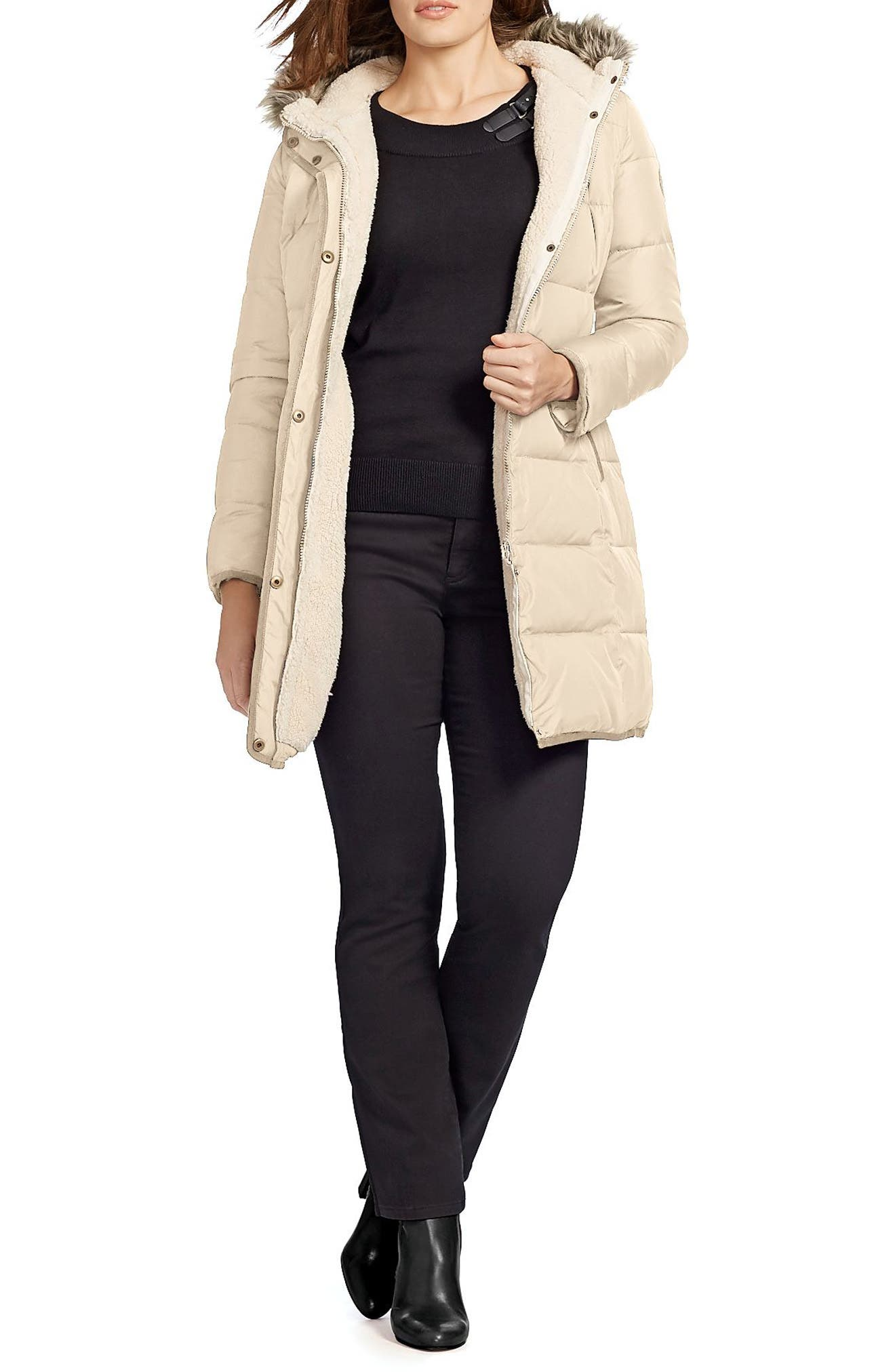 Quilted Parka with Faux Fur Trim,                             Alternate thumbnail 2, color,                             Racing Khaki