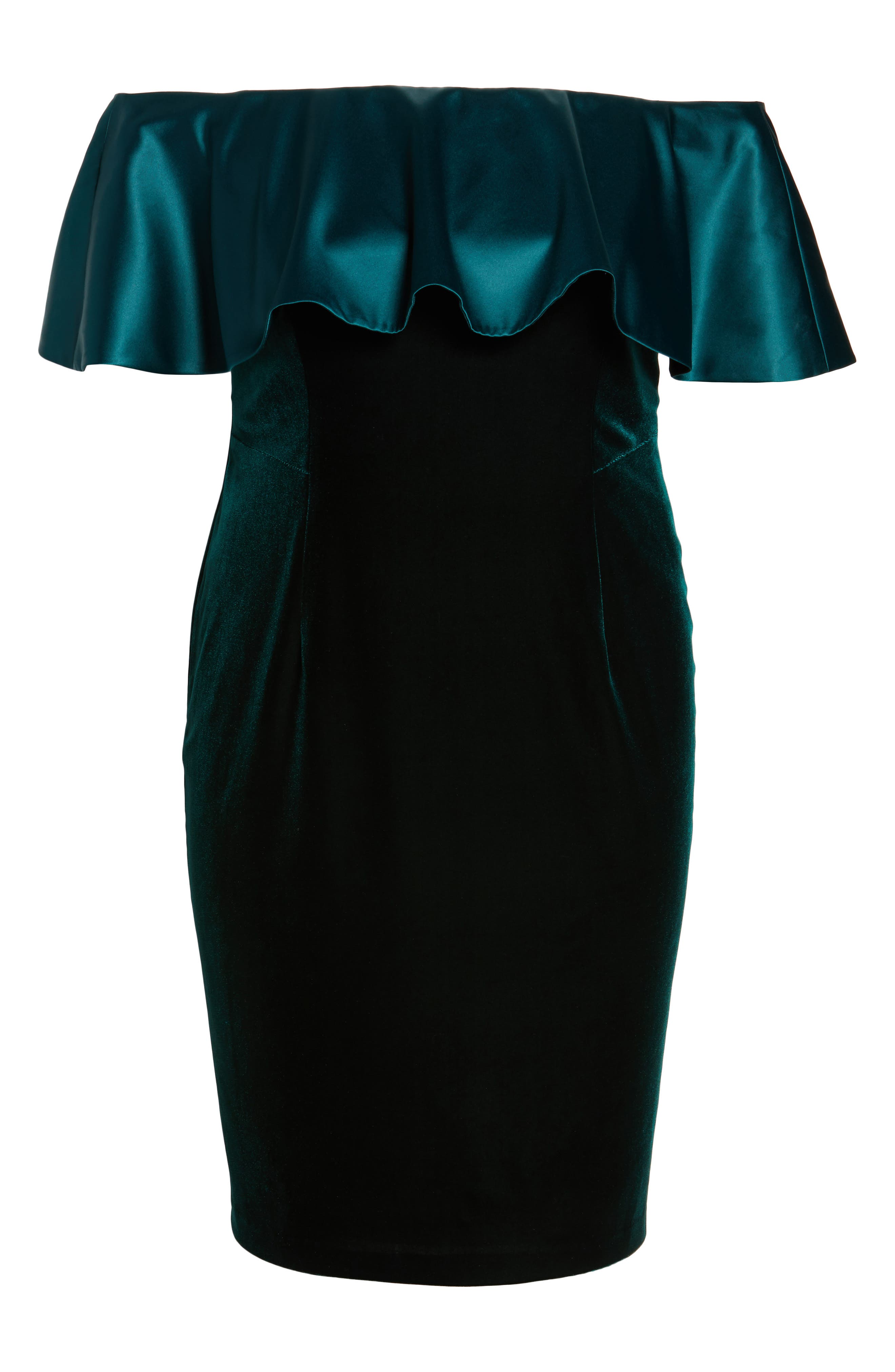 Adriana Papell Stretch Velvet Sheath Dress,                             Alternate thumbnail 7, color,                             Emerald