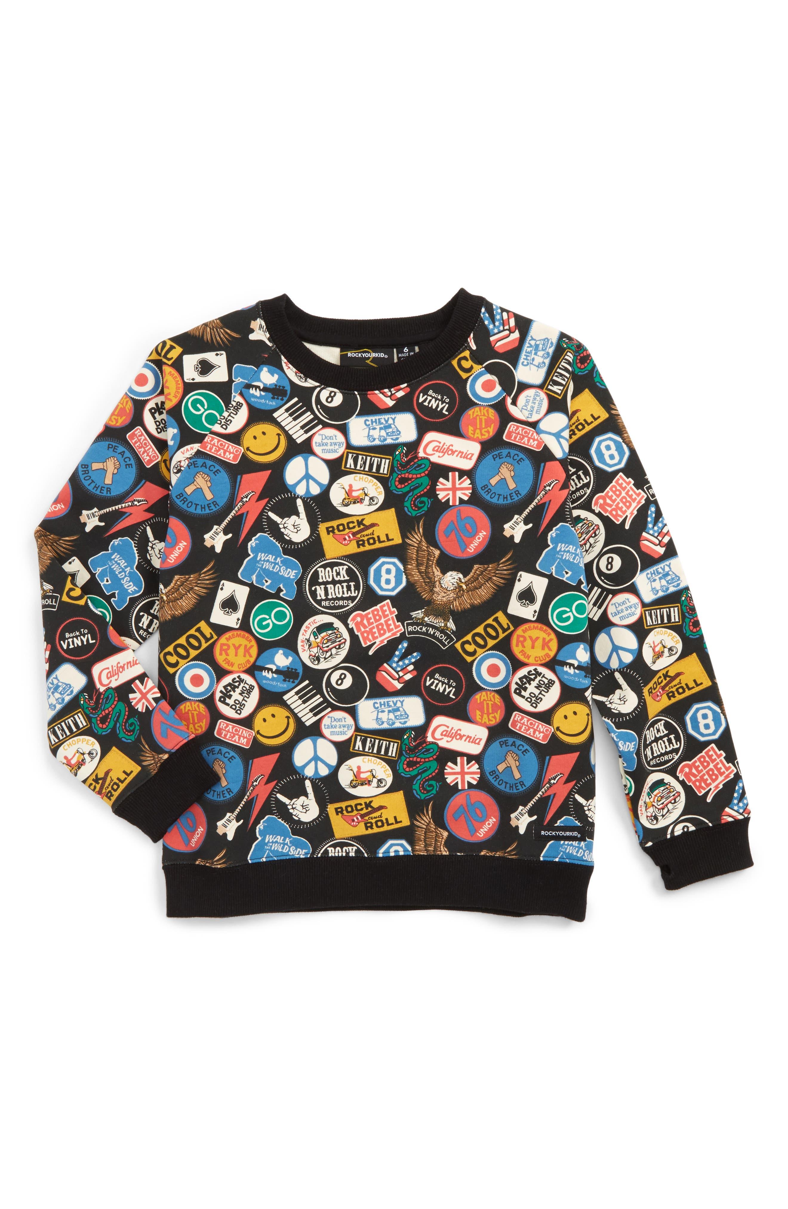 Vintage Patches Sweatshirt,                         Main,                         color, Black