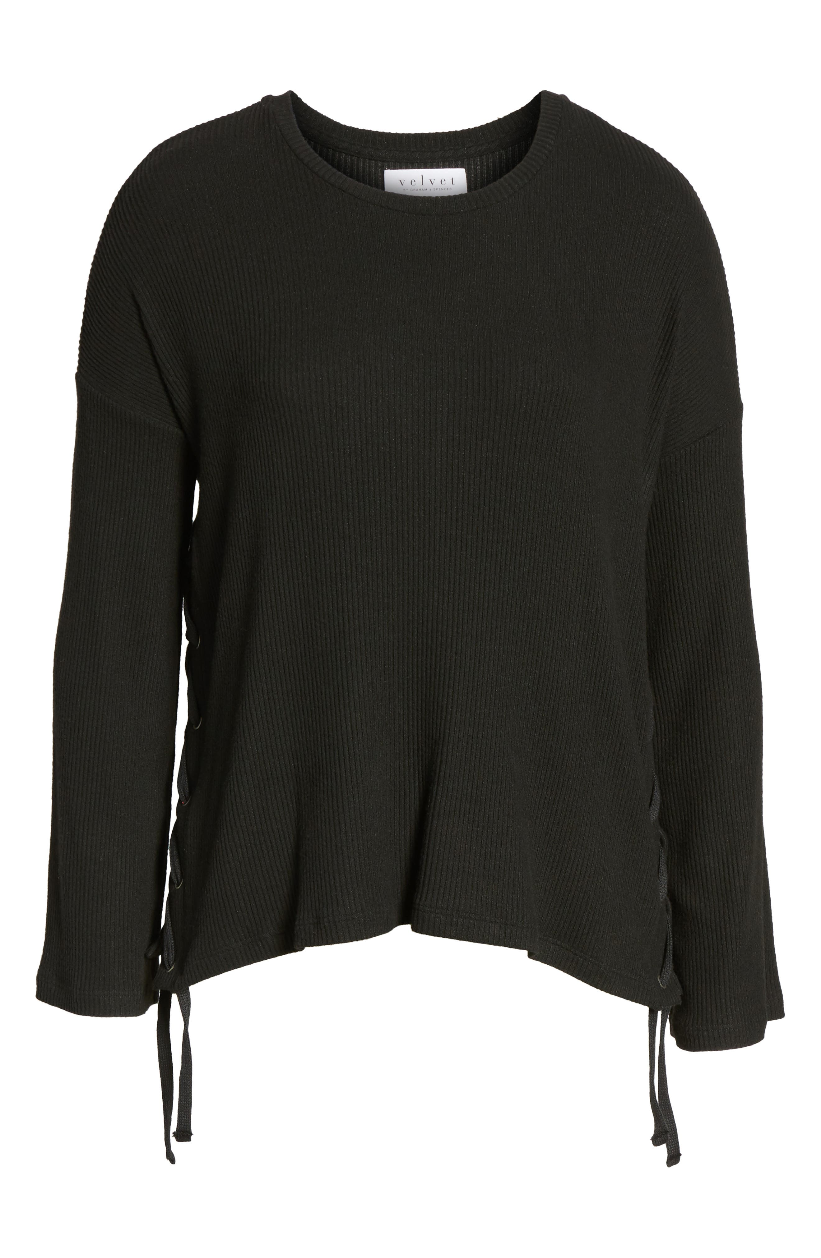Lace-Up Pullover,                             Alternate thumbnail 6, color,                             Black