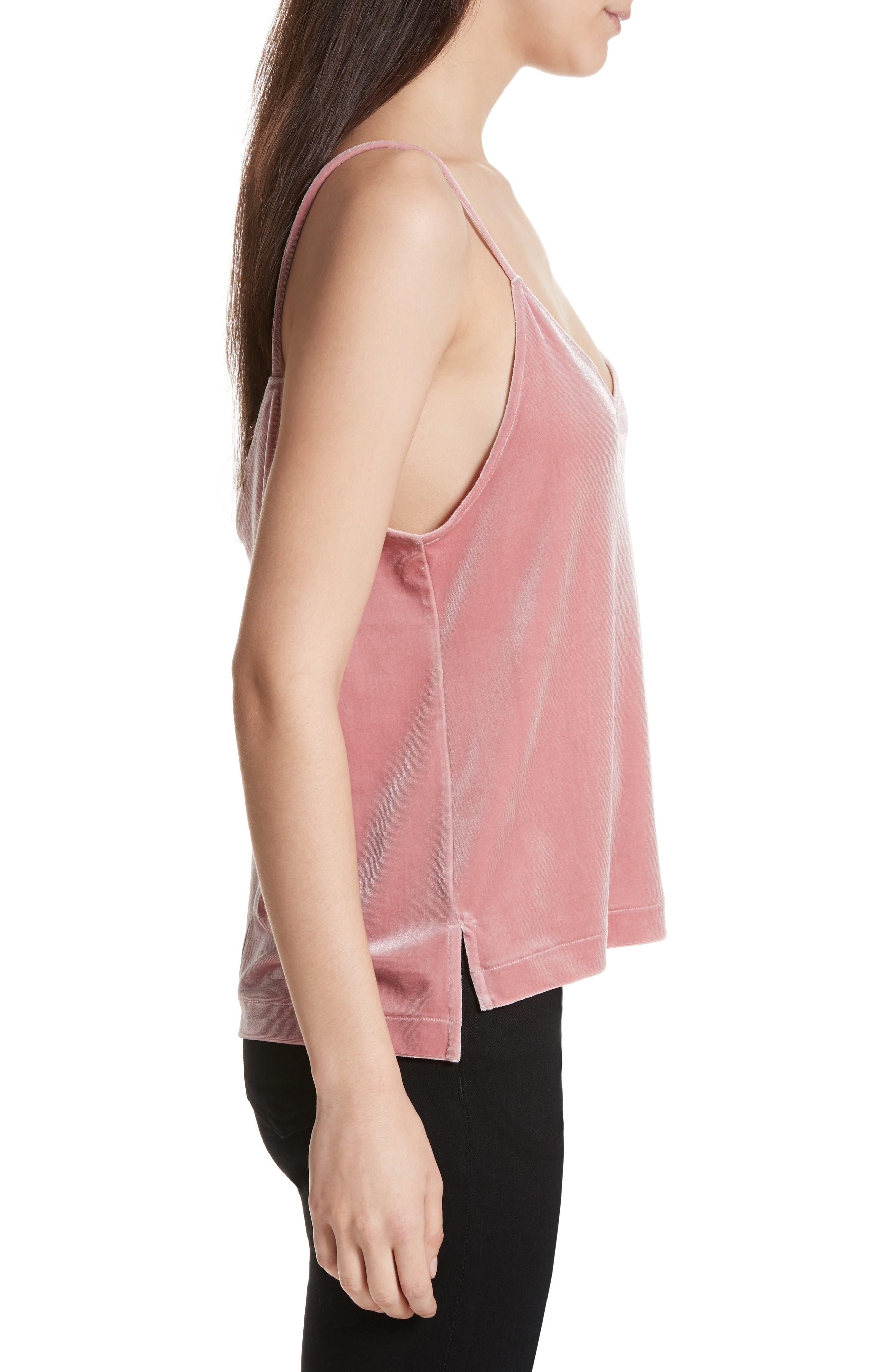 Amber Velvet Camisole,                             Alternate thumbnail 3, color,                             Deep Pink